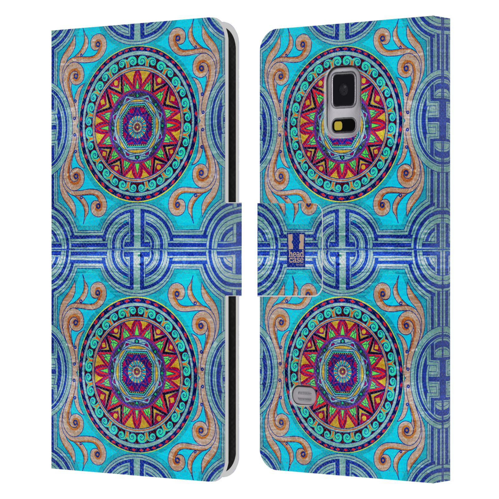 HEAD CASE Flipové pouzdro pro mobil Samsung Galaxy Note 4 ARABESKA modrá