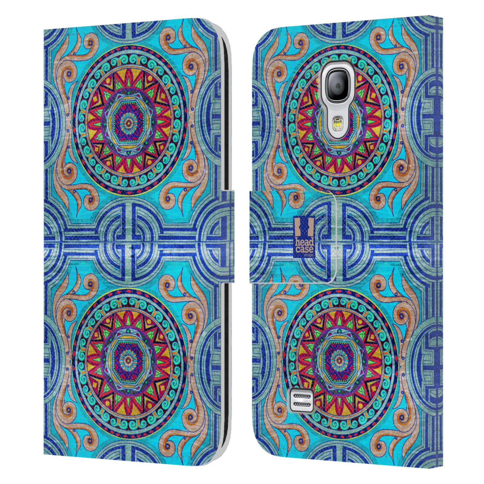 HEAD CASE Flipové pouzdro pro mobil Samsung Galaxy S4 MINI / S4 MINI DUOS ARABESKA modrá