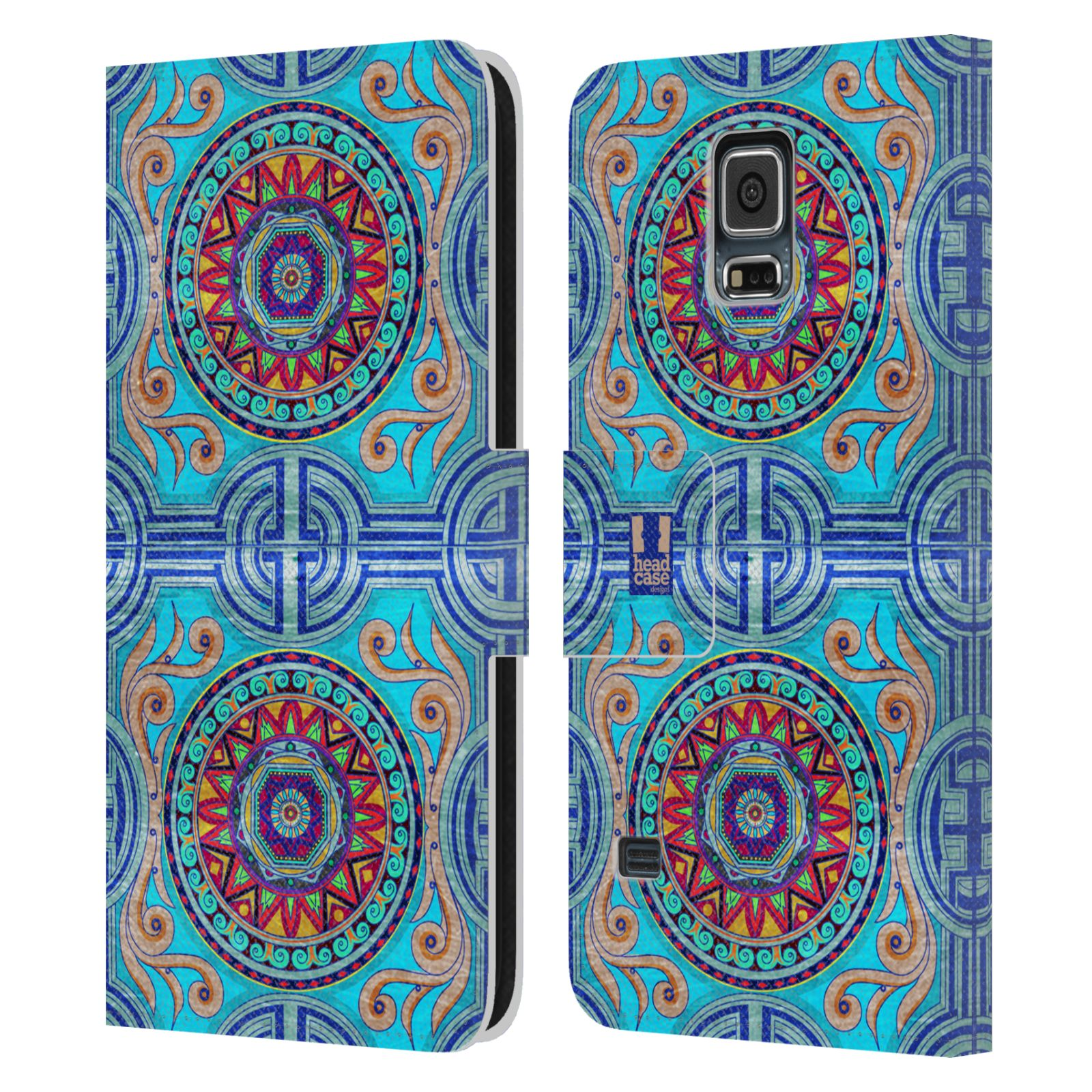 HEAD CASE Flipové pouzdro pro mobil Samsung Galaxy S5 / S5 NEO ARABESKA modrá