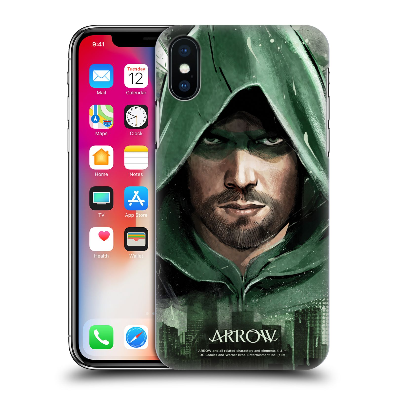 Pouzdro na mobil Apple Iphone X/XS - HEAD CASE - Seriál Arrow - kreslený motiv