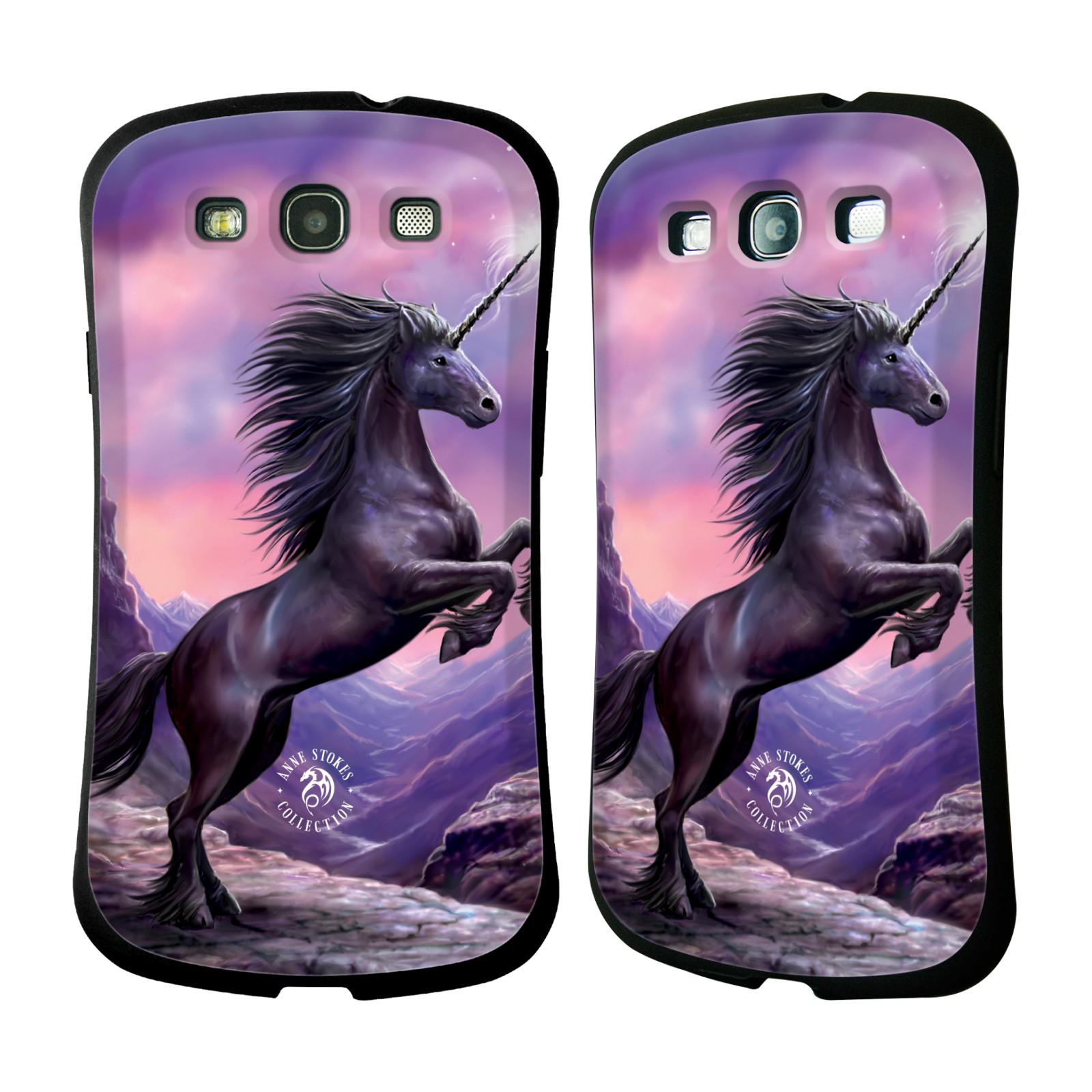 HEAD CASE silikon/plast odolný obal na mobil Samsung Galaxy S3 i9300 / S3 NEO Anne Stokes kůň černý jednorožec