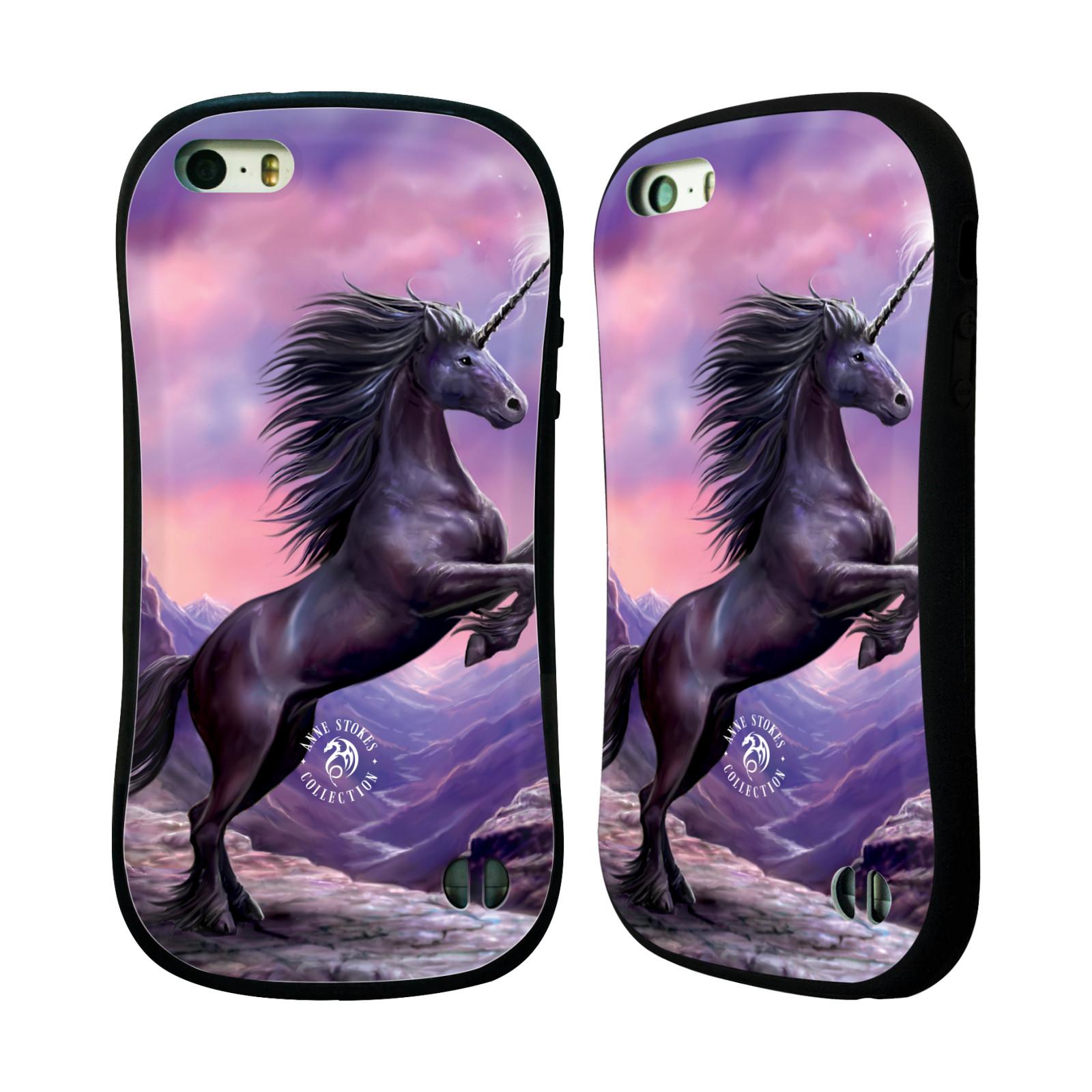 HEAD CASE silikon/plast odolný obal na mobil Apple Iphone 5 / 5S Anne Stokes kůň černý jednorožec