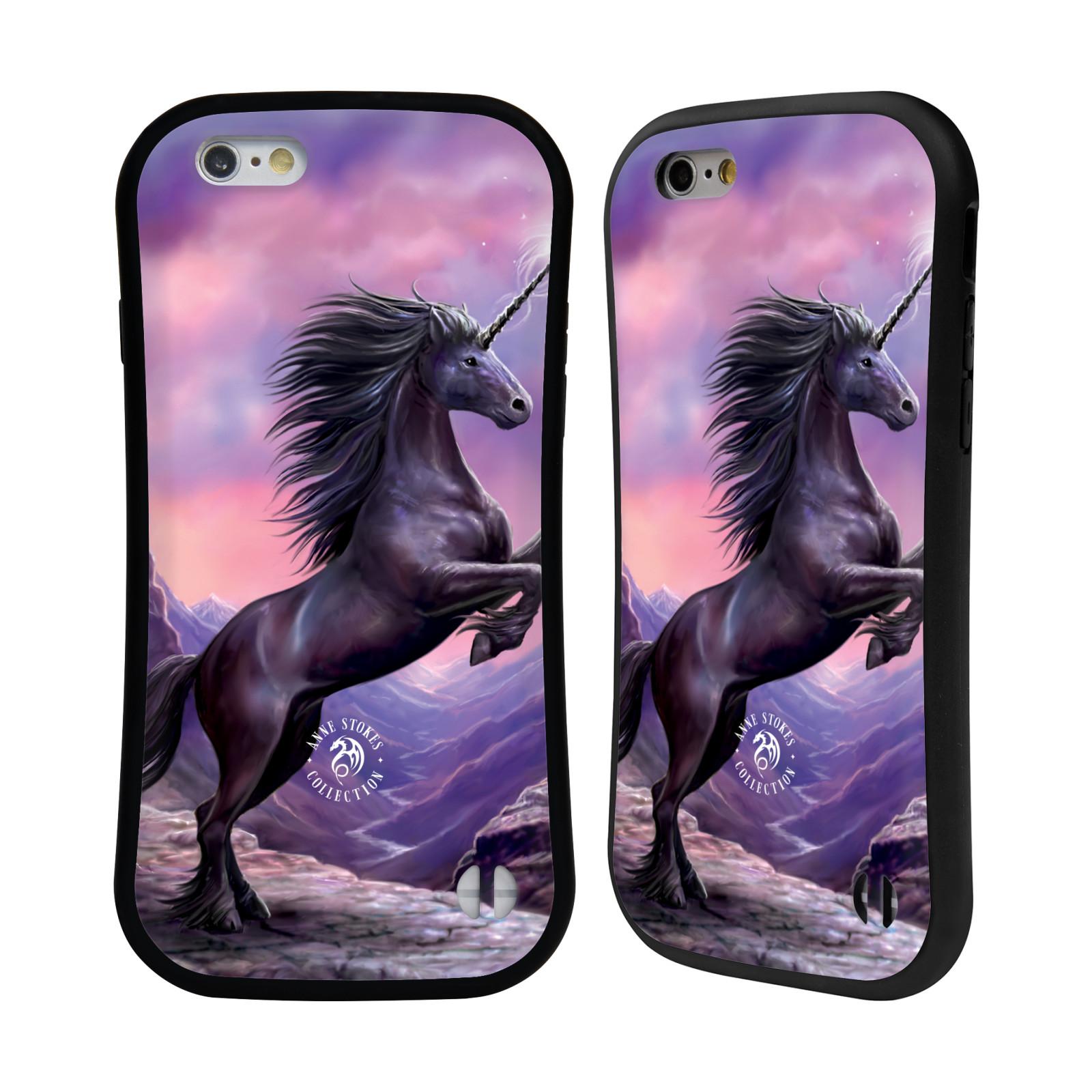 HEAD CASE silikon/plast odolný obal na mobil Apple Iphone 6/6S Anne Stokes kůň černý jednorožec
