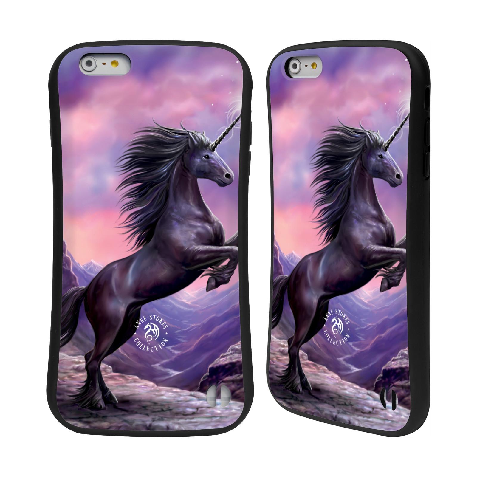 HEAD CASE silikon/plast odolný obal na mobil Apple Iphone 6 PLUS / 6S PLUS Anne Stokes kůň černý jednorožec