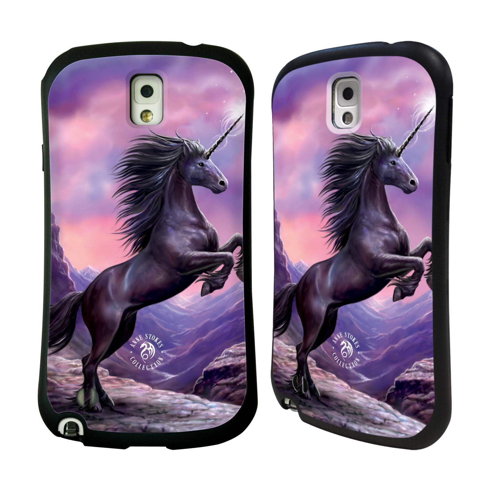 HEAD CASE silikon/plast odolný obal na mobil Samsung Galaxy NOTE 3 (N9005) Anne Stokes kůň černý jednorožec