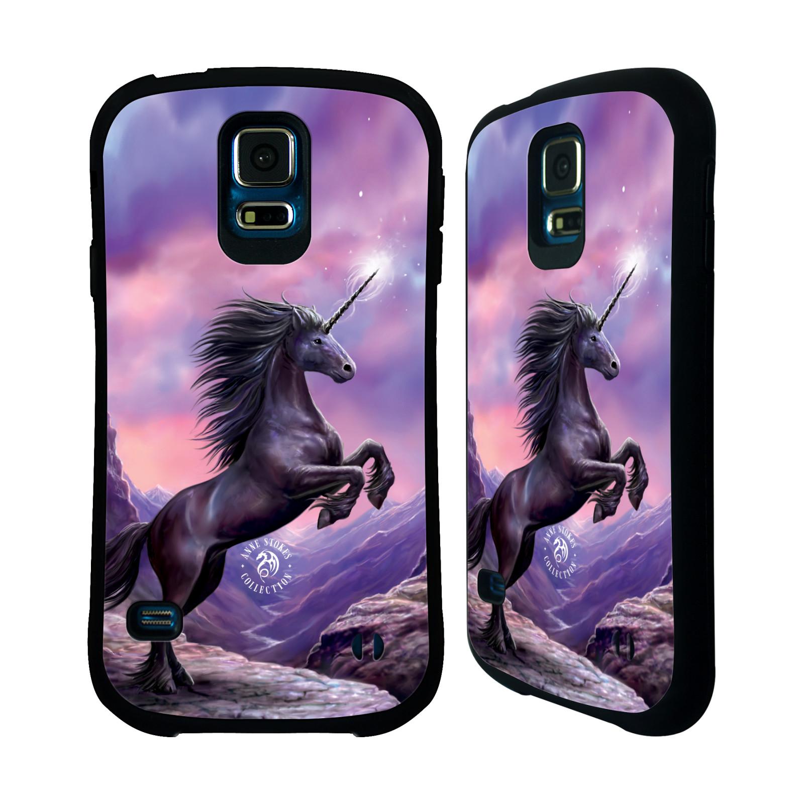 HEAD CASE silikon/plast odolný obal na mobil Samsung Galaxy S5 / S5 NEO Anne Stokes kůň černý jednorožec