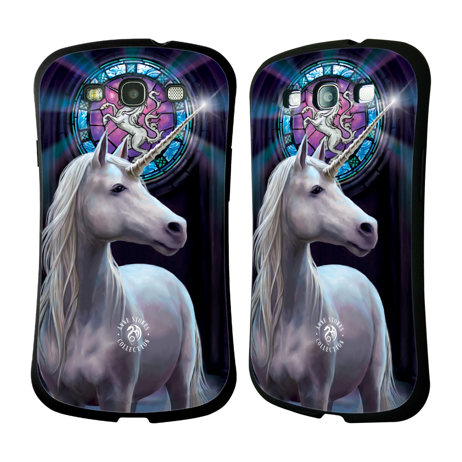 HEAD CASE silikon/plast odolný obal na mobil Samsung Galaxy S3 i9300 / S3 NEO Anne Stokes kůň bílý jednorožec znak mozaika