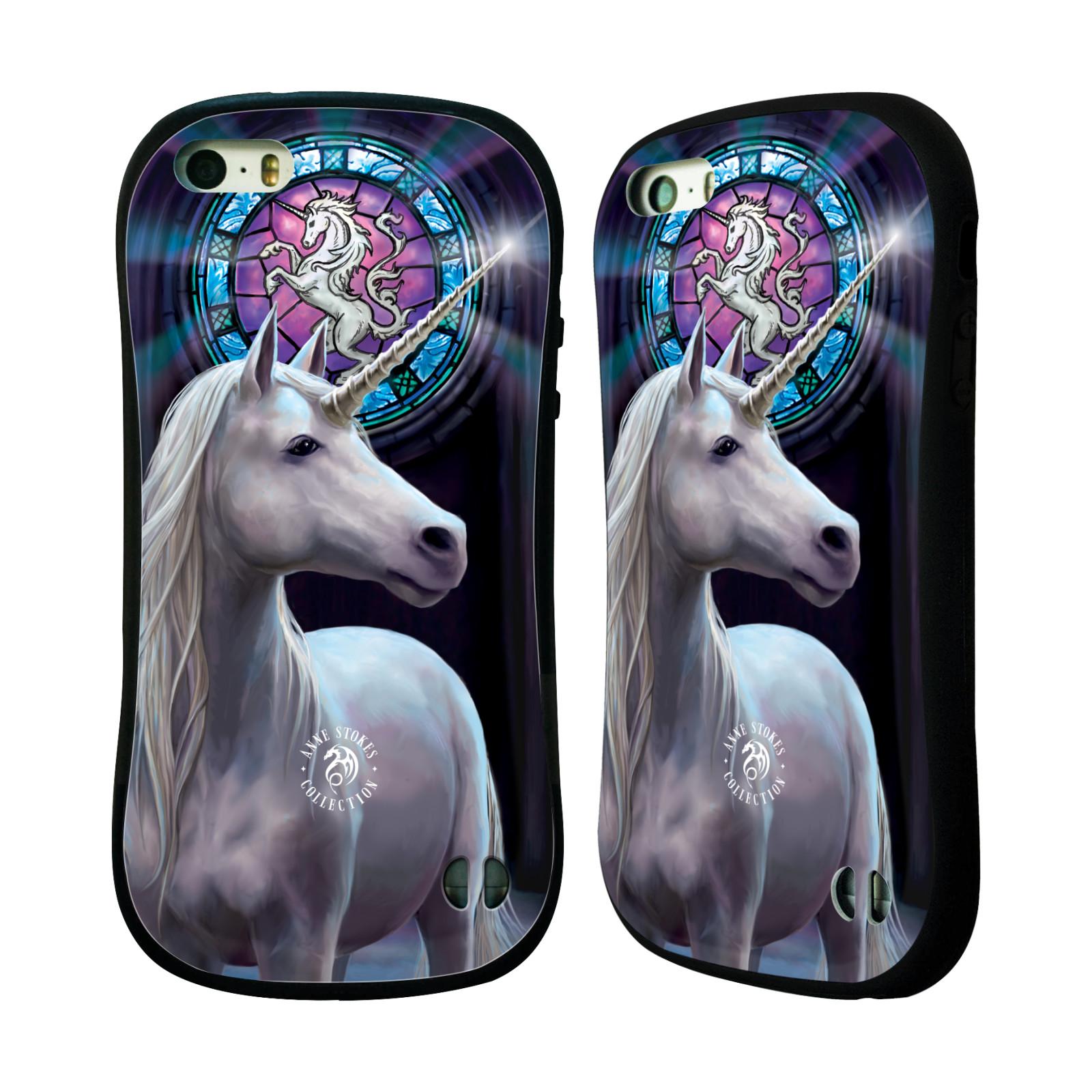 HEAD CASE silikon/plast odolný obal na mobil Apple Iphone 5 / 5S Anne Stokes kůň bílý jednorožec znak mozaika