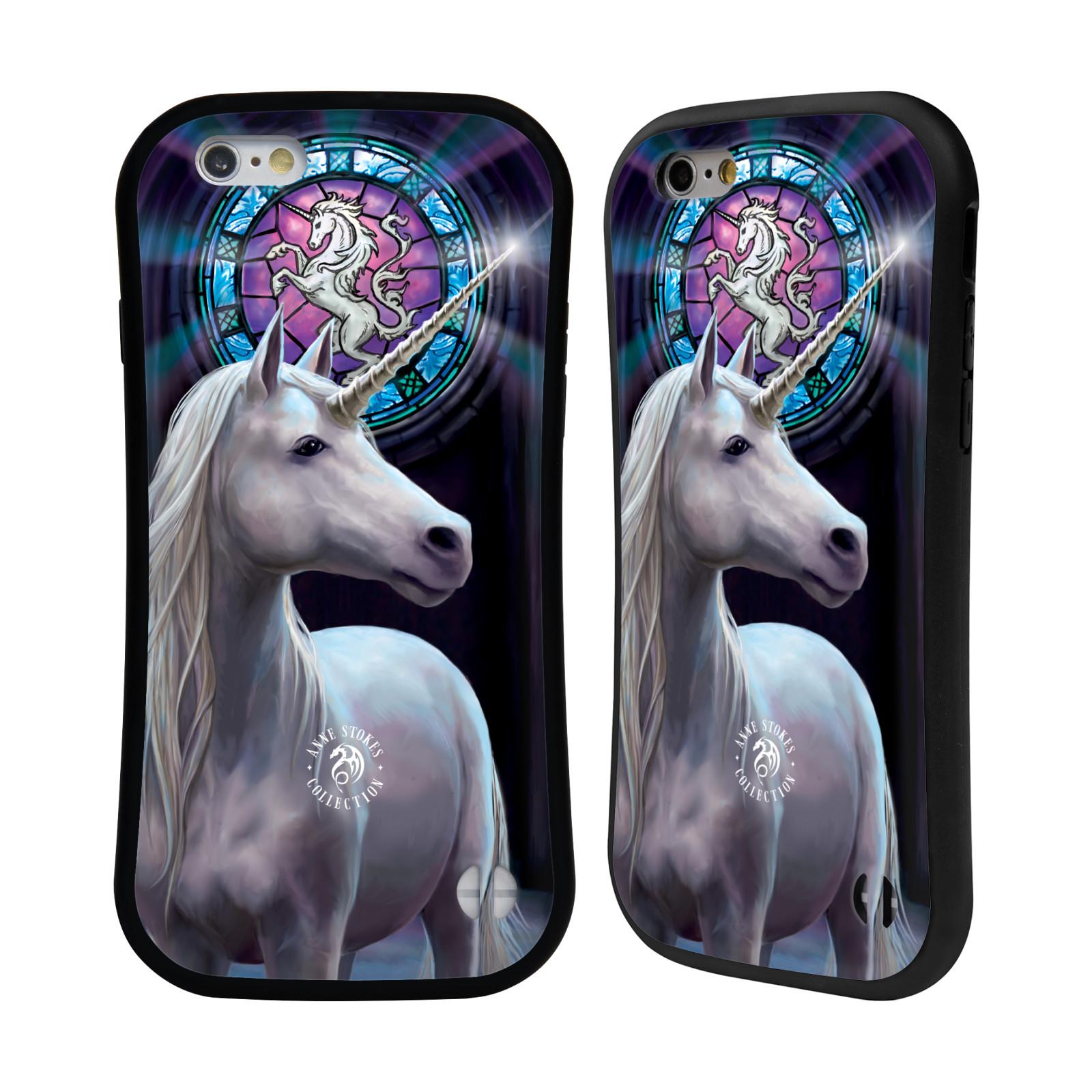 HEAD CASE silikon/plast odolný obal na mobil Apple Iphone 6/6S Anne Stokes kůň bílý jednorožec znak mozaika