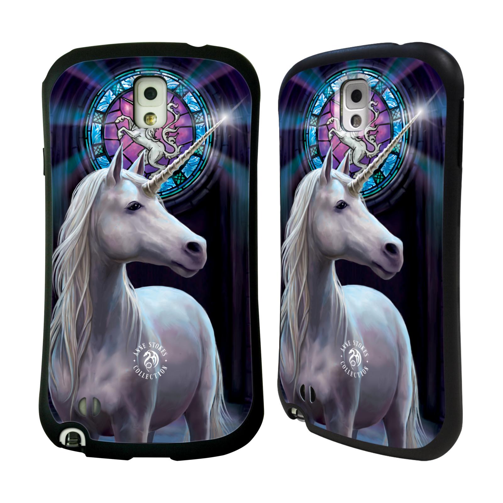 HEAD CASE silikon/plast odolný obal na mobil Samsung Galaxy NOTE 3 (N9005) Anne Stokes kůň bílý jednorožec znak mozaika
