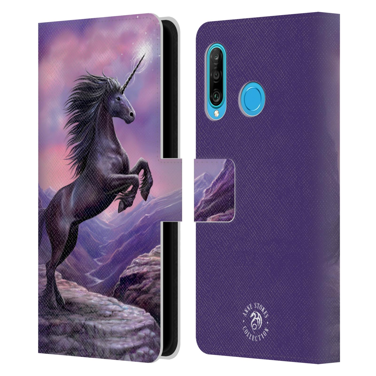 Pouzdro na mobil Huawei P30 LITE - Head Case - fantasy - černý jednorožec