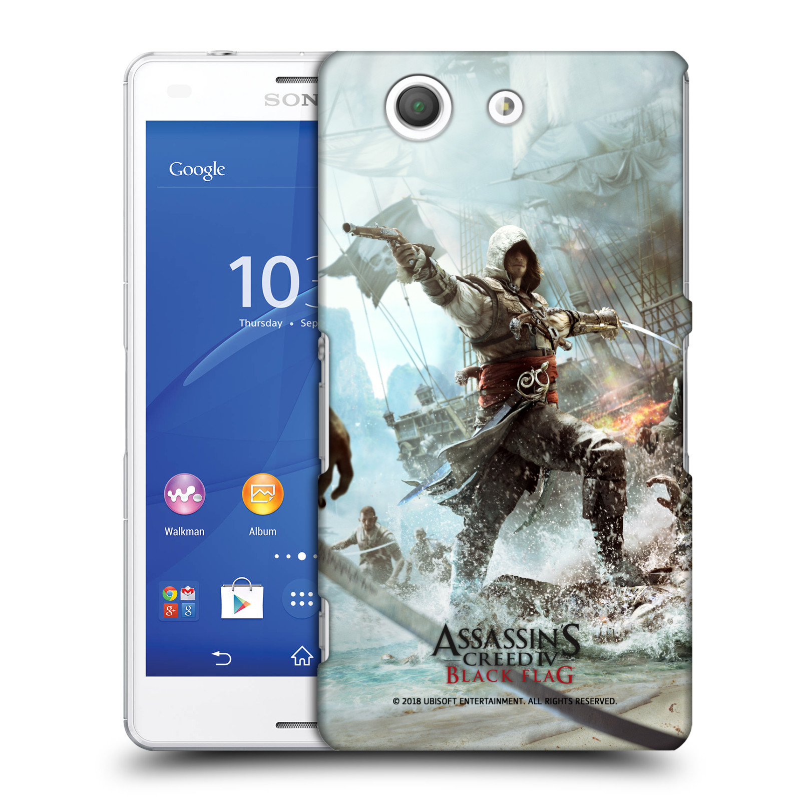 Pouzdro na mobil Sony Xperia Z3 COMPACT - HEAD CASE - Assasins Creed Black Flag - Edward v boji