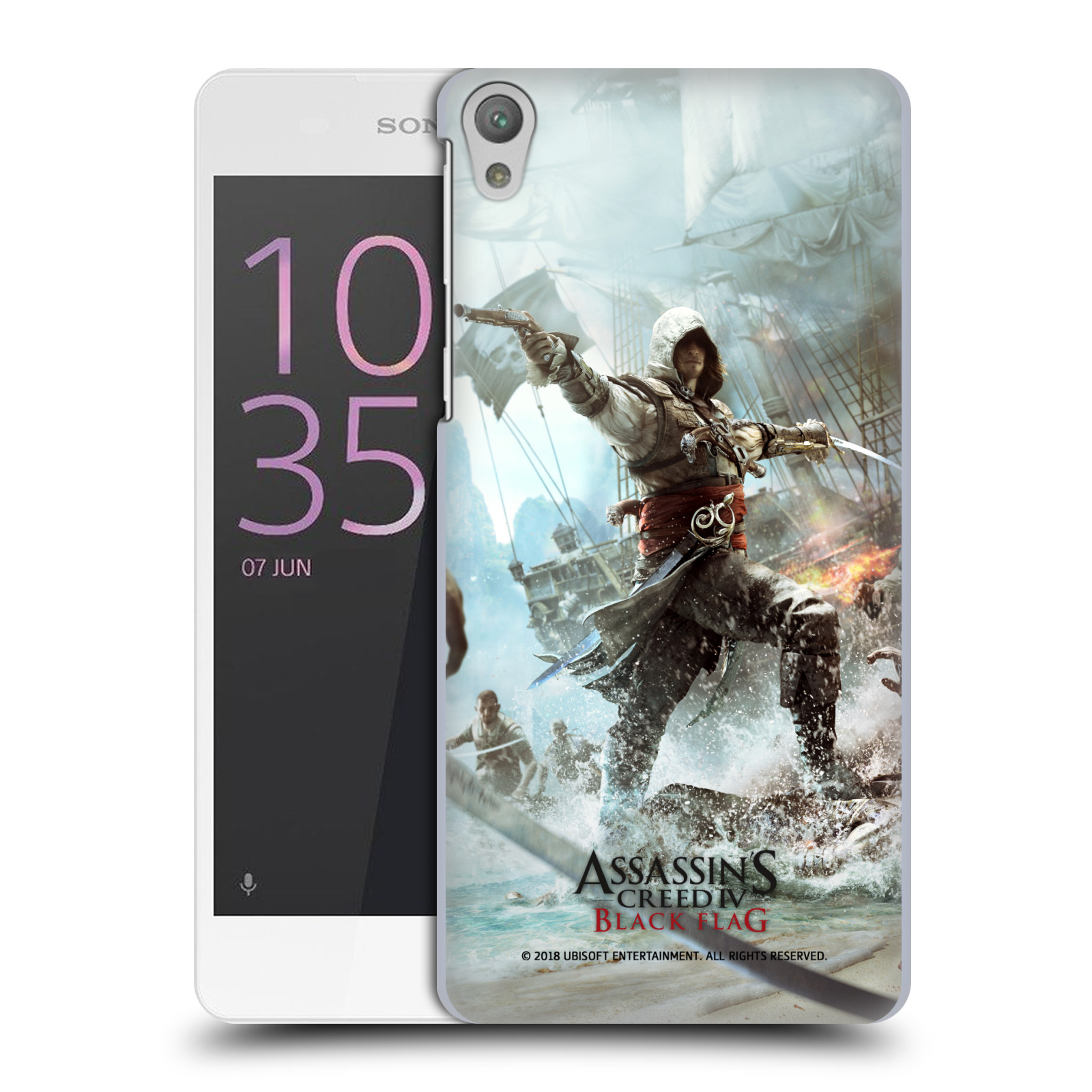 Pouzdro na mobil Sony Xperia E5 - HEAD CASE - Assasins Creed Black Flag - Edward v boji