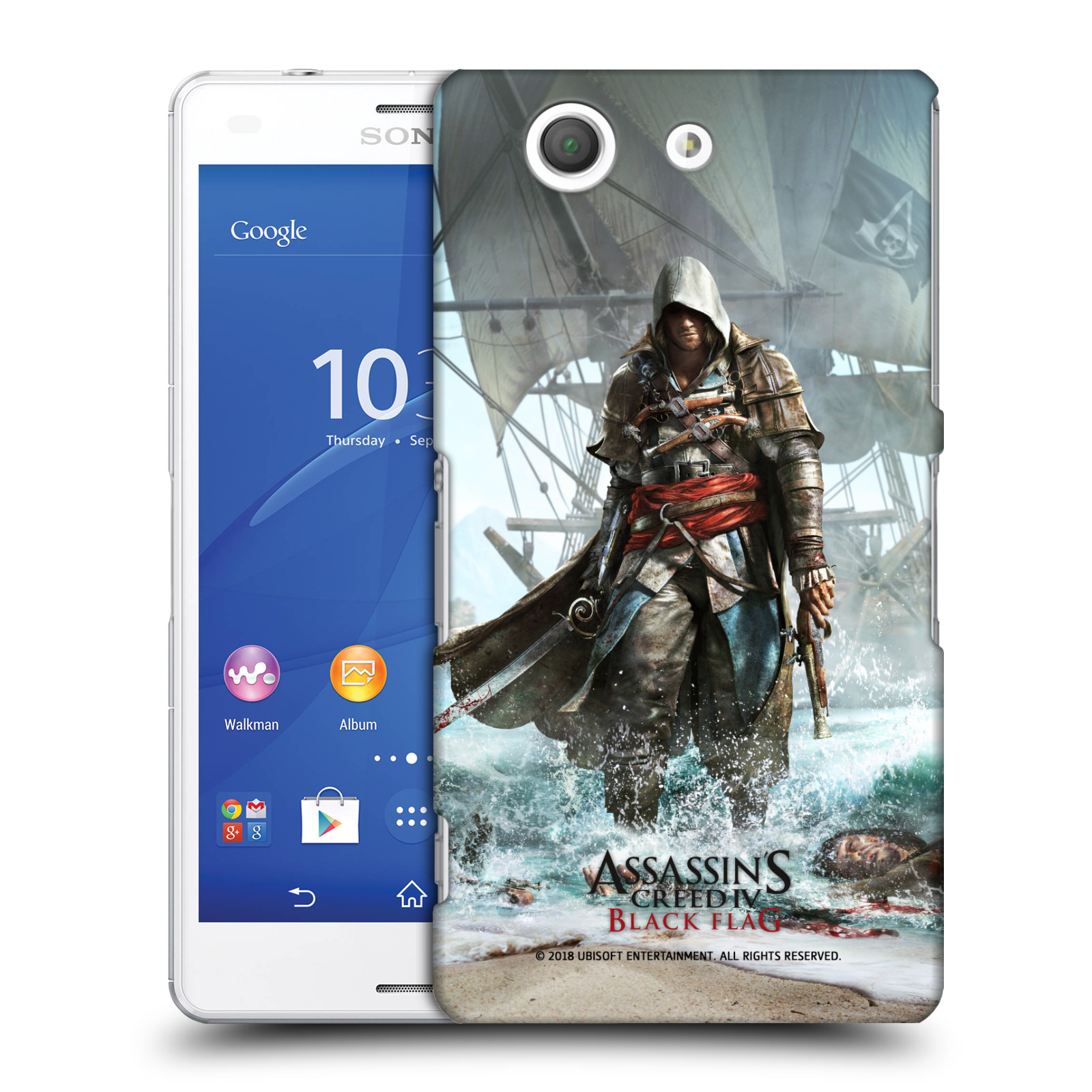 Pouzdro na mobil Sony Xperia Z3 COMPACT - HEAD CASE - Assasins Creed Black Flag - Edward na pobřeží