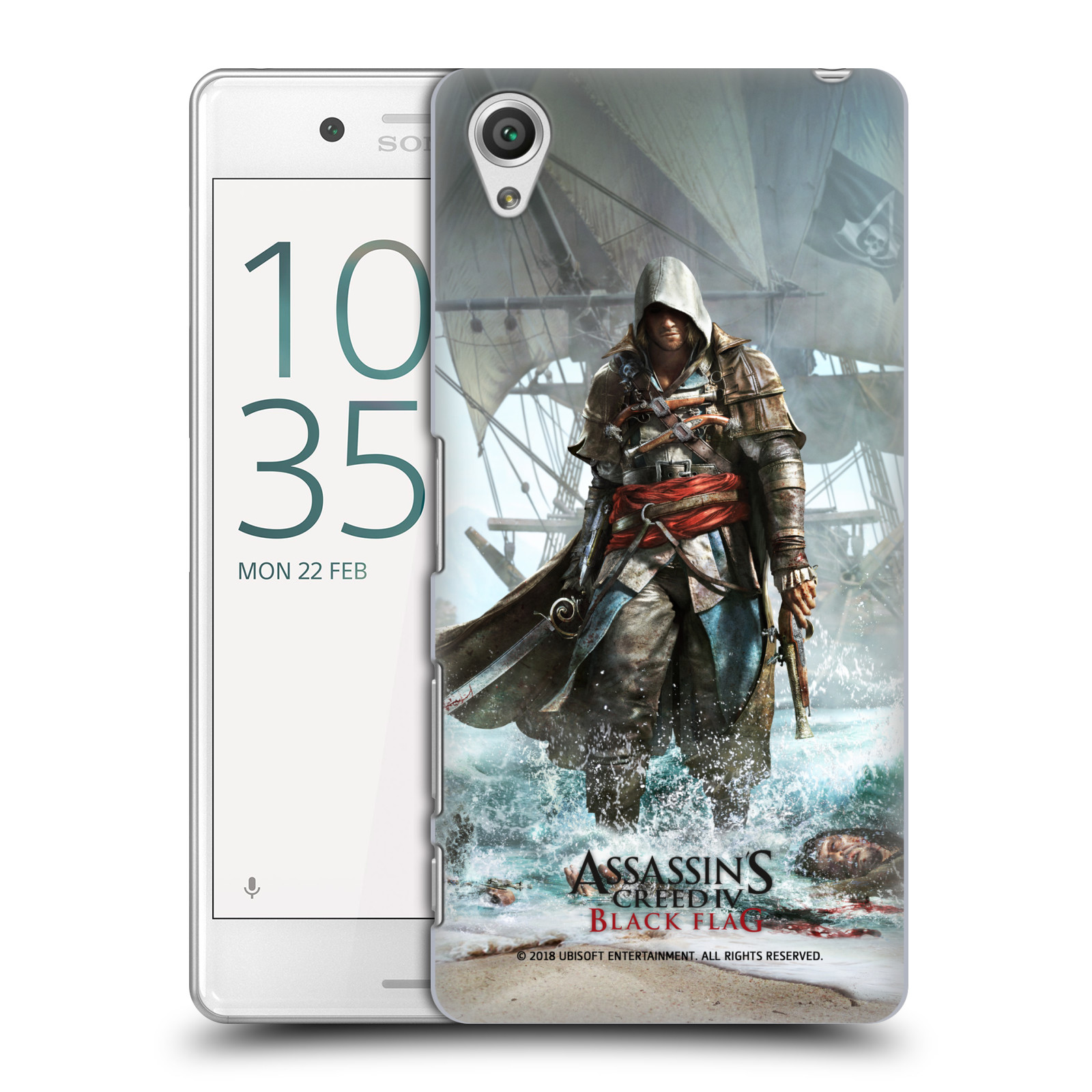 Pouzdro na mobil Sony Xperia X PERFORMANCE - HEAD CASE - Assasins Creed Black Flag - Edward na pobřeží