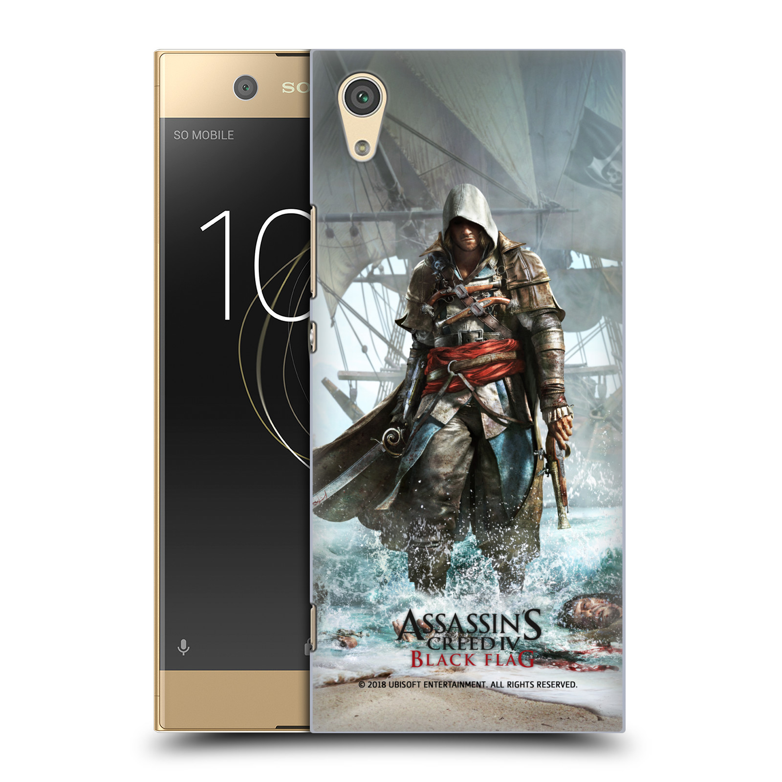 Pouzdro na mobil Sony Xperia XA1 - HEAD CASE - Assasins Creed Black Flag - Edward na pobřeží