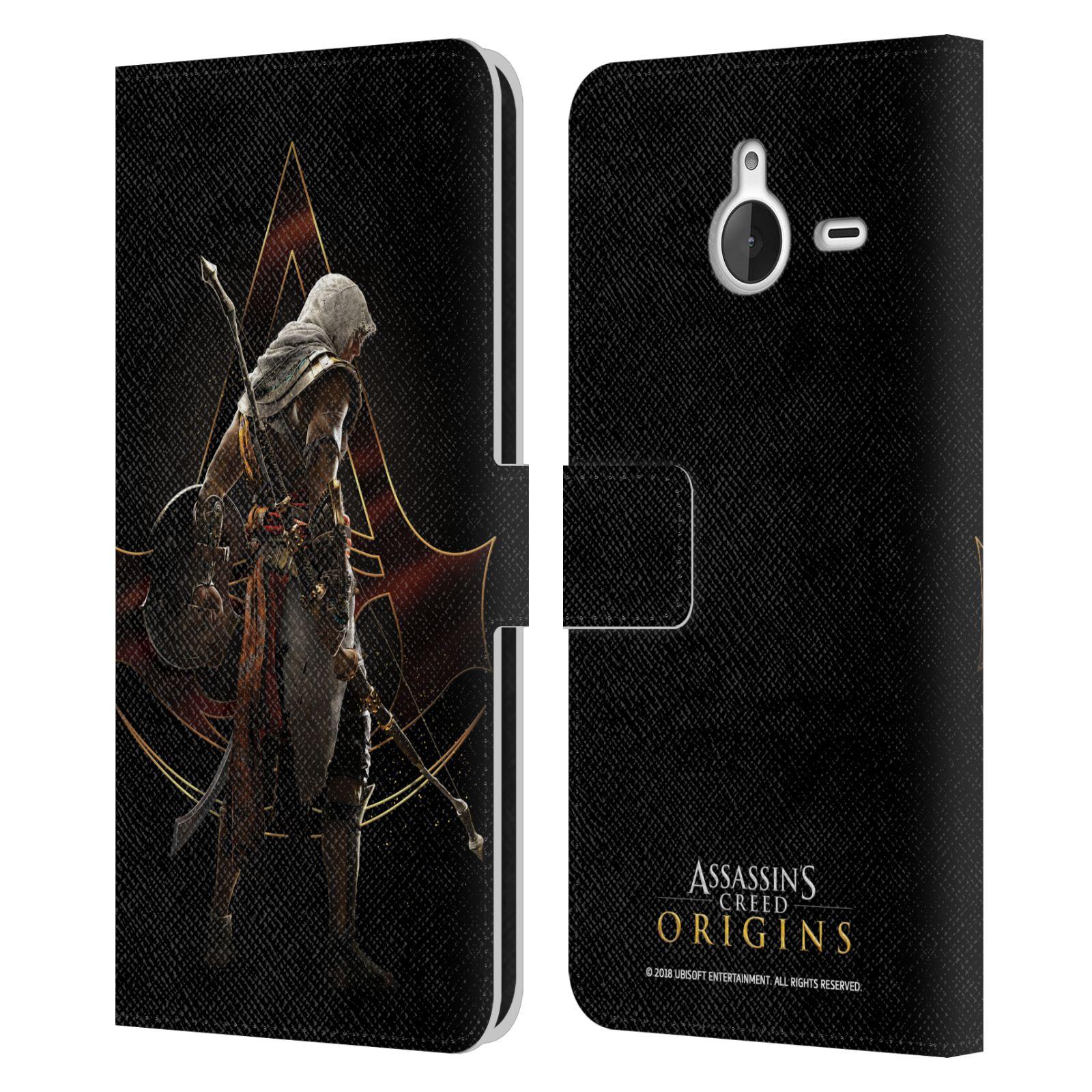 Pouzdro na mobil Nokia Lumia 640 XL - Head Case - Assasins Creed Bayek zadní pohled černé pozadí