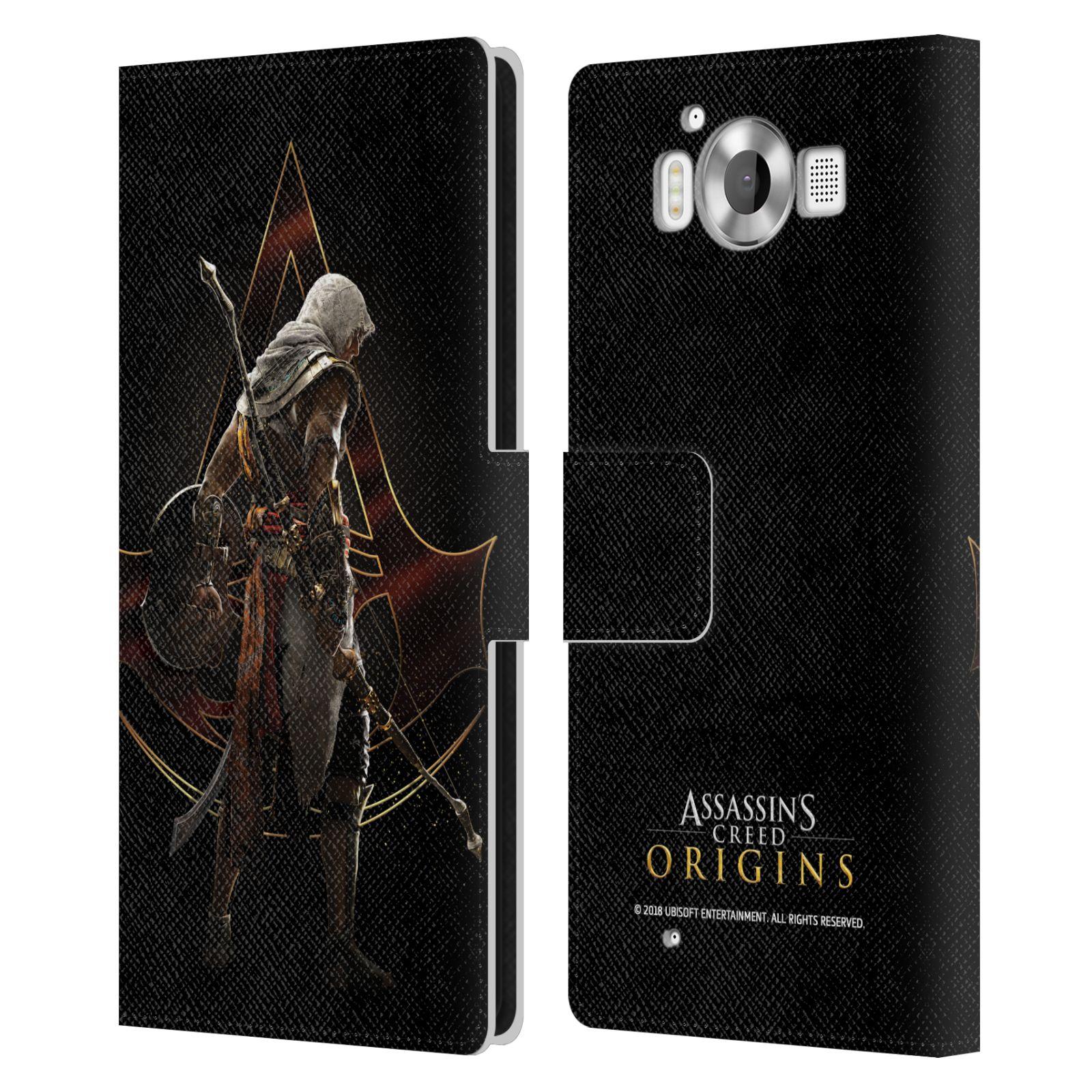 Pouzdro na mobil Nokia Lumia 950 - Head Case - Assasins Creed Bayek zadní pohled černé pozadí