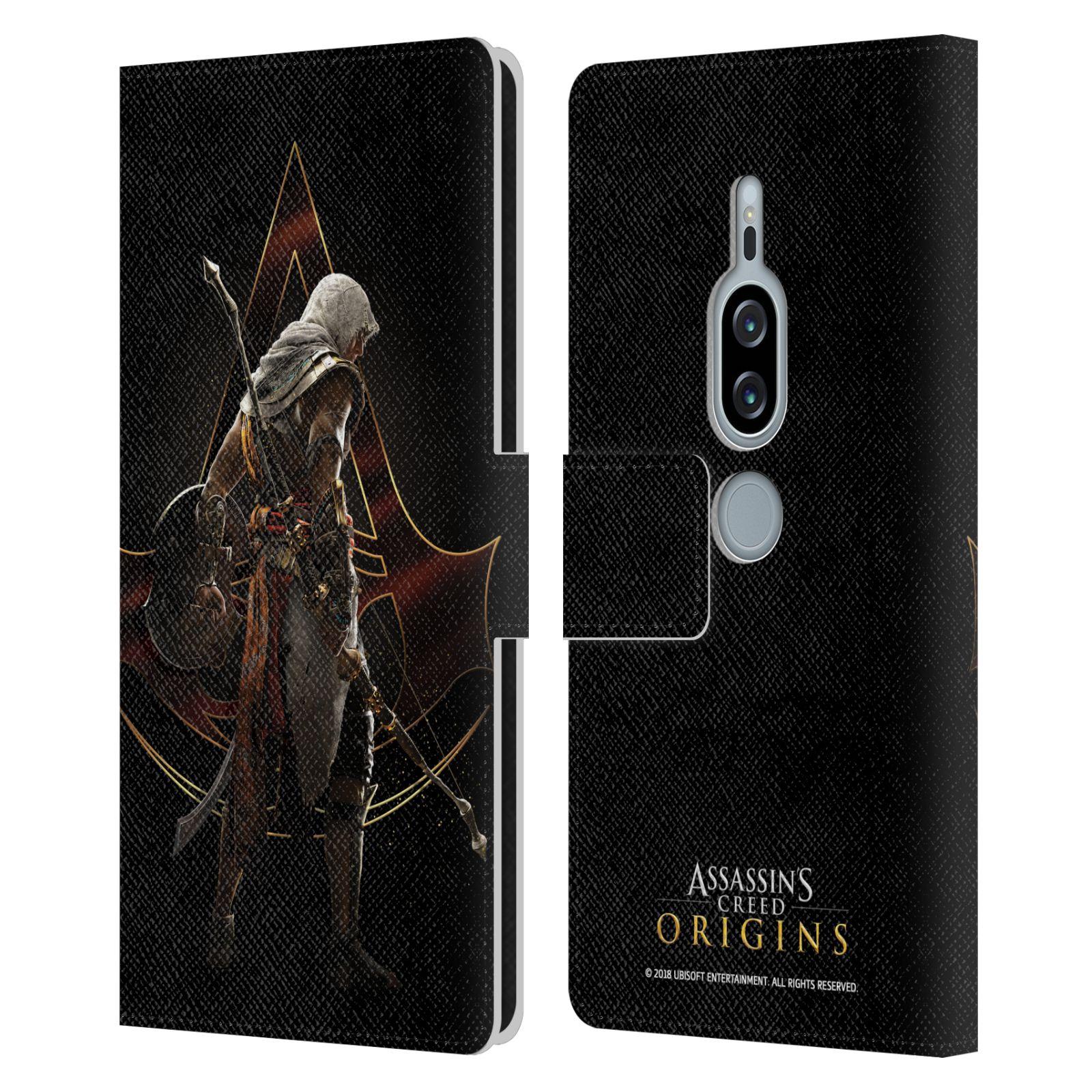 Pouzdro na mobil Sony Xperia XZ2 Premium - Head Case - Assasins Creed Bayek zadní pohled černé pozadí