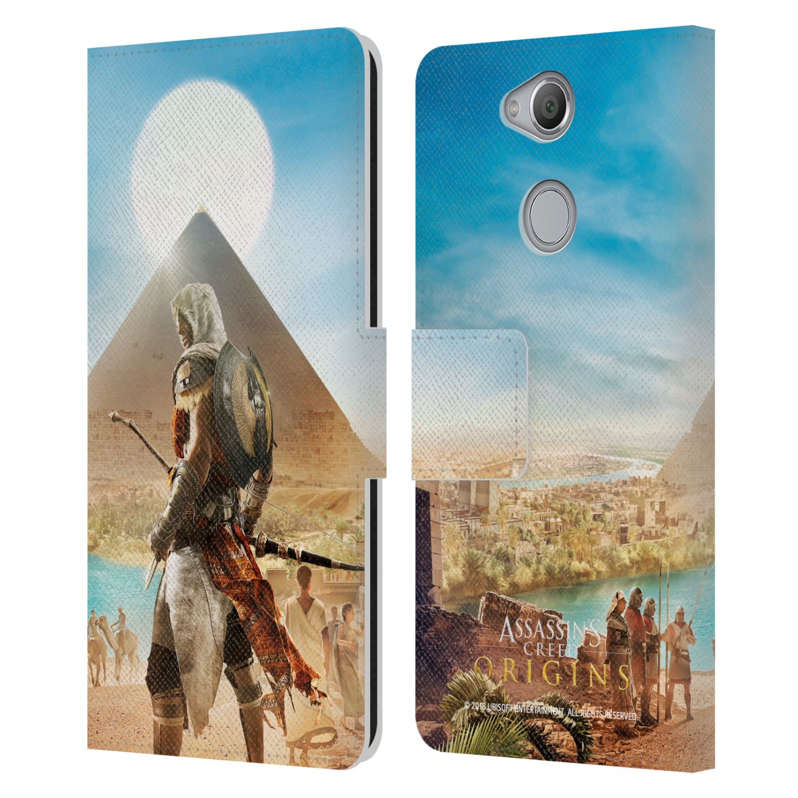 Pouzdro na mobil Sony Xperia XA2 - Head Case - Assasins Creed Origins Bayek pyramida