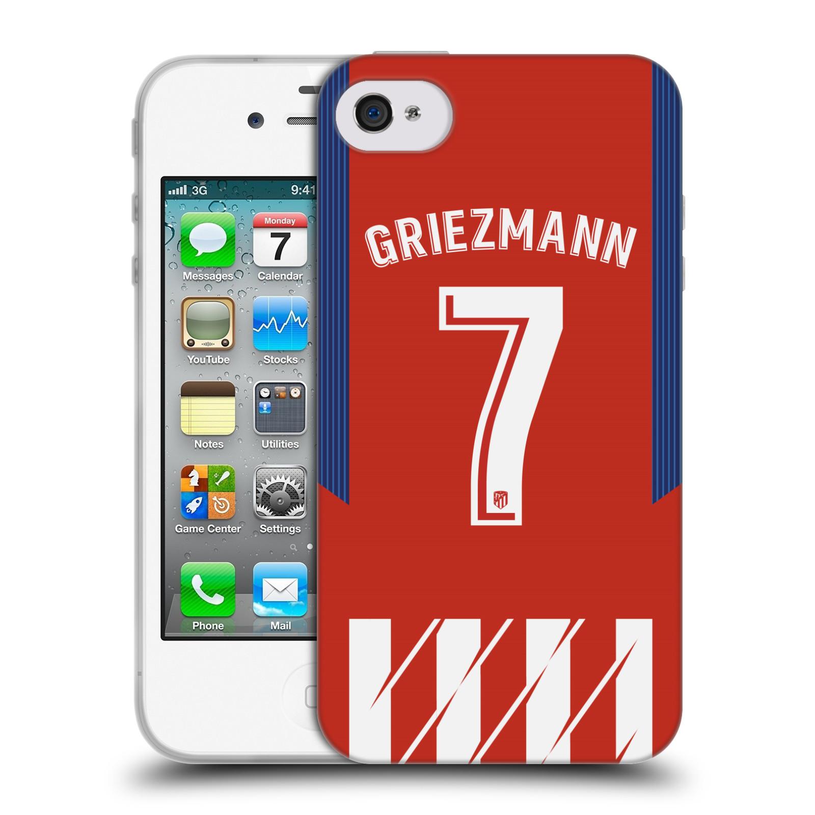 HEAD CASE silikonový obal na mobil Apple Iphone 4 Fotbalový klub Atlético Madrid dres Antoine Griezmann