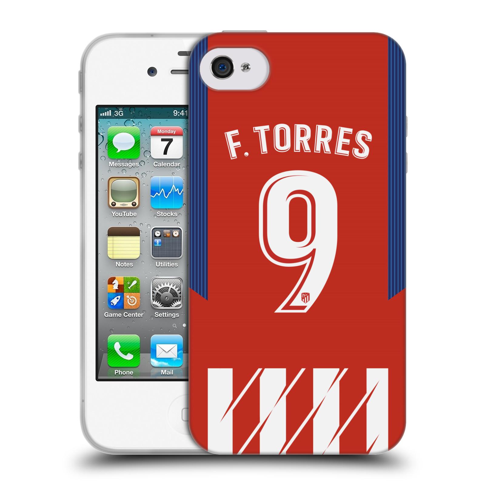 HEAD CASE silikonový obal na mobil Apple Iphone 4 Fotbalový klub Atlético Madrid dres Fernando Torres
