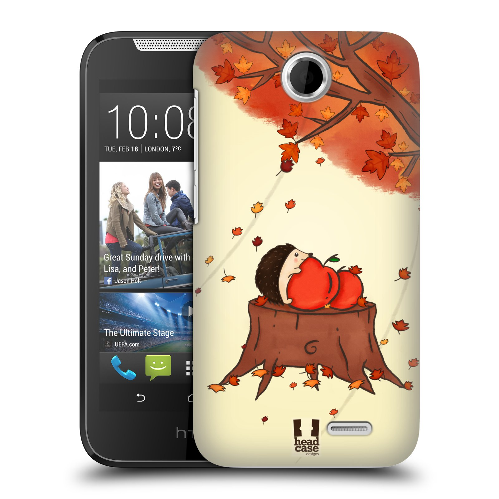 HEAD CASE plastový obal na mobil HTC Desire 310 vzor podzimní zvířátka ježek a jablíčka