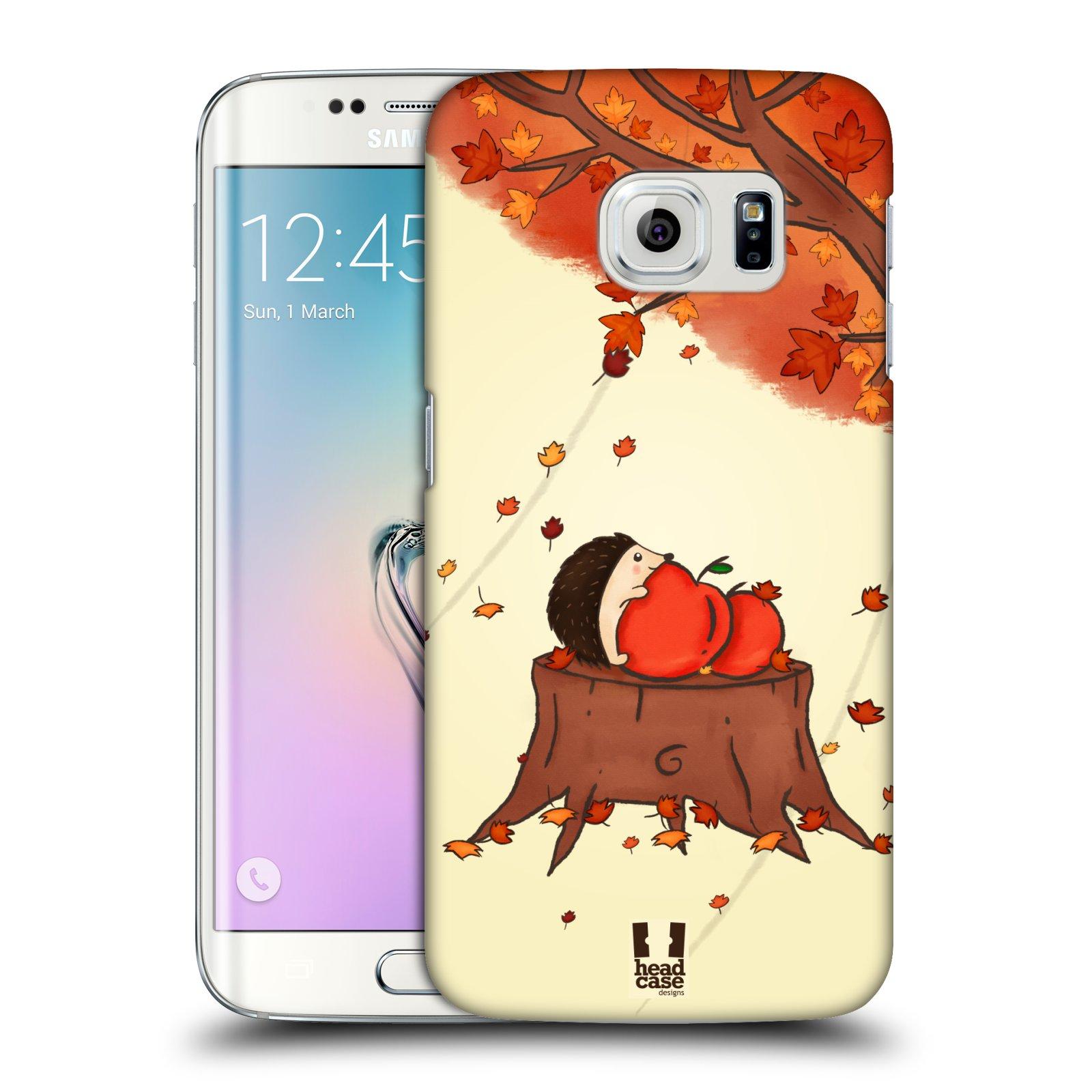 HEAD CASE plastový obal na mobil SAMSUNG Galaxy S6 EDGE (G9250, G925, G925F) vzor podzimní zvířátka ježek a jablíčka