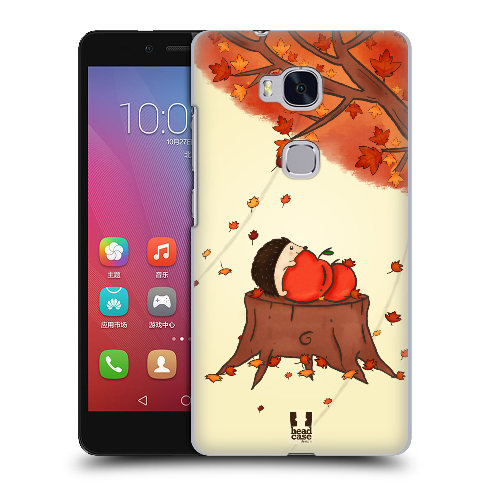 HEAD CASE pevný plastový obal na mobil HUAWEI HONOR 5X vzor podzimní zvířátka ježek a jablíčka
