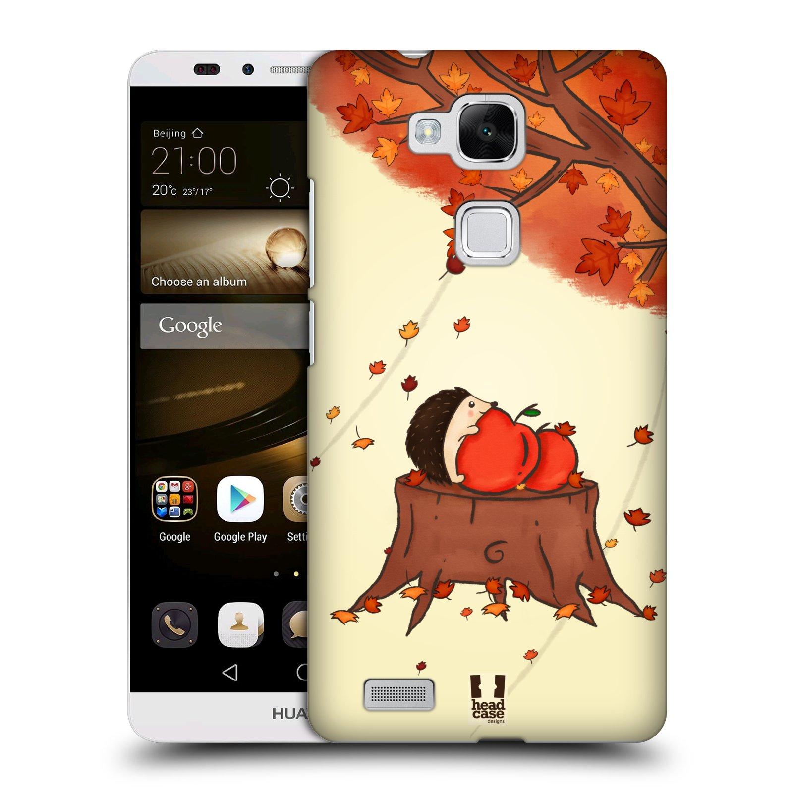 HEAD CASE plastový obal na mobil Huawei Mate 7 vzor podzimní zvířátka ježek a jablíčka