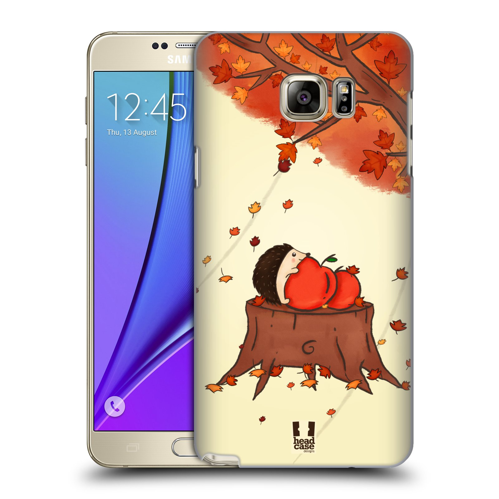 HEAD CASE plastový obal na mobil SAMSUNG Galaxy Note 5 (N920) vzor podzimní zvířátka ježek a jablíčka