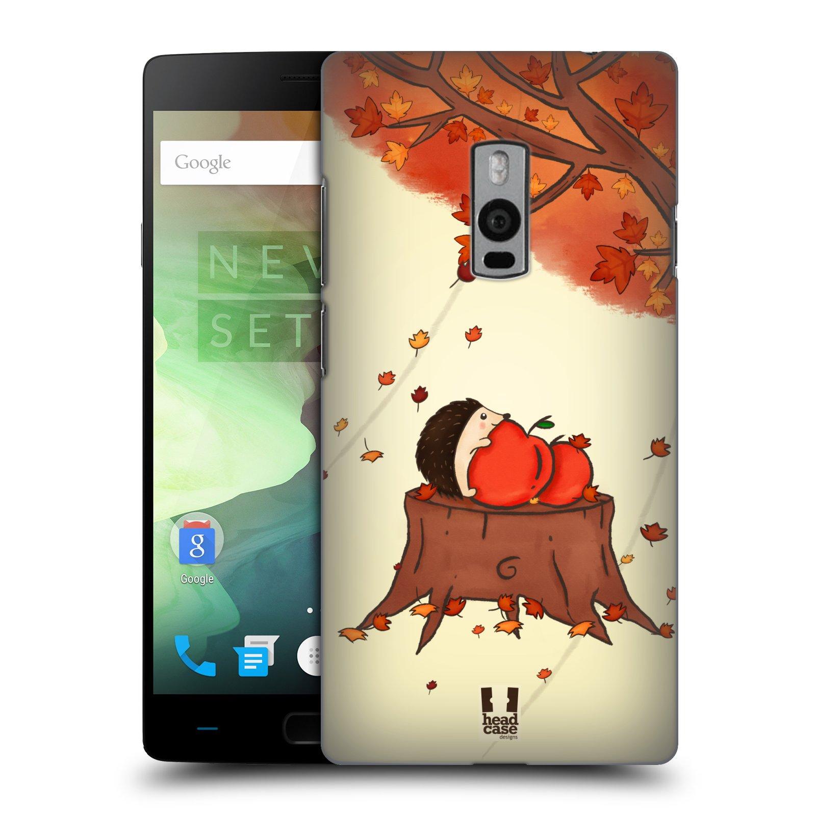 HEAD CASE pevný plastový obal na mobil OnePlus 2  ( TWO ) vzor podzimní zvířátka ježek a jablíčka