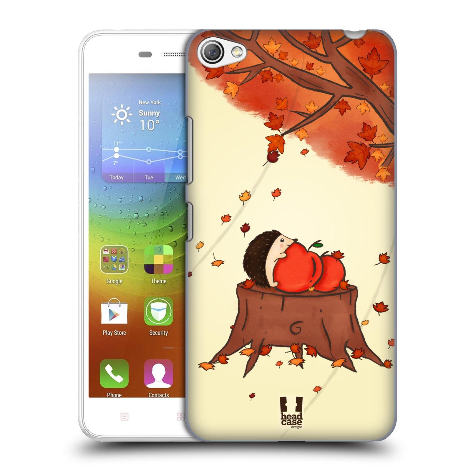 HEAD CASE pevný plastový obal na mobil LENOVO S60 / LENOVO S60 DUAL SIM vzor podzimní zvířátka ježek a jablíčka