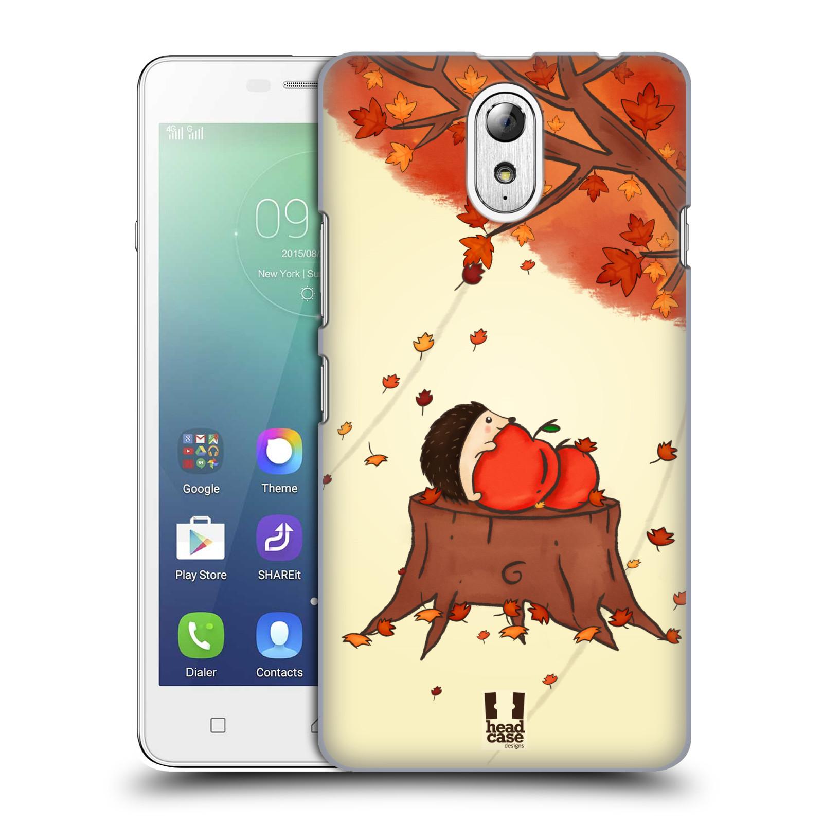 HEAD CASE pevný plastový obal na mobil LENOVO VIBE P1m / LENOVO VIBE p1m DUAL SIM vzor podzimní zvířátka ježek a jablíčka