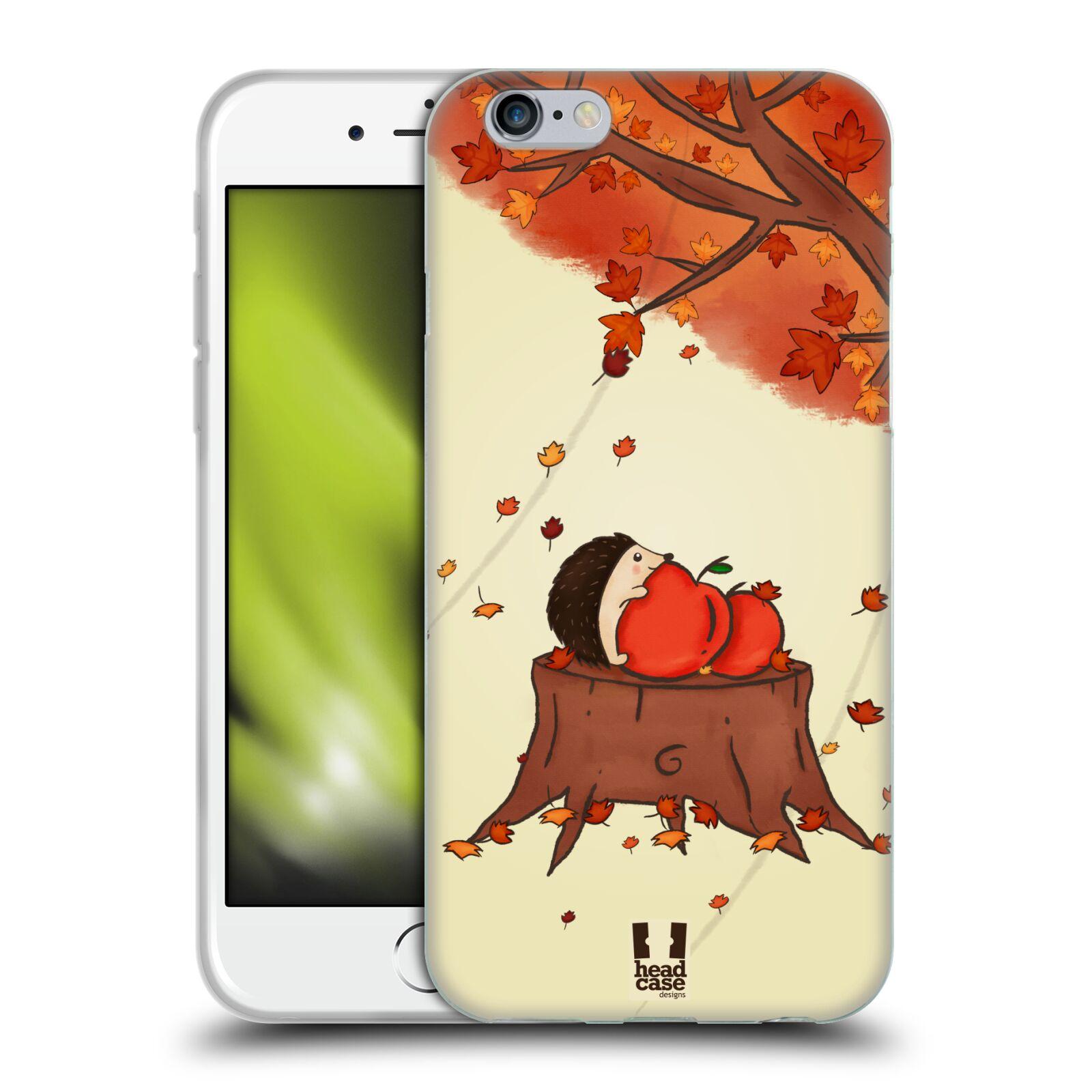 HEAD CASE silikonový obal na mobil Apple Iphone 6/6S vzor podzimní zvířátka ježek a jablíčka