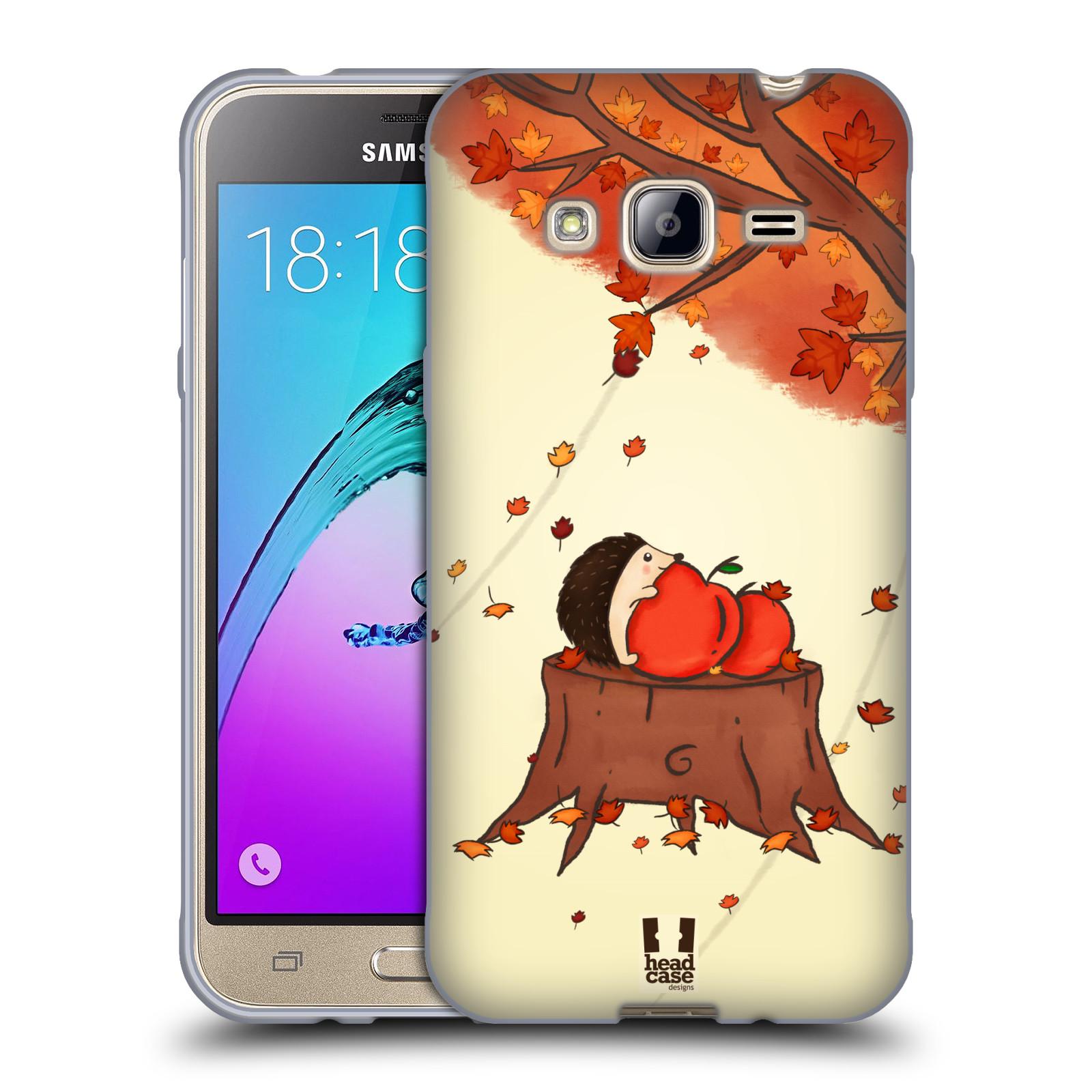 HEAD CASE silikonový obal na mobil Samsung Galaxy J3, J3 2016 vzor podzimní zvířátka ježek a jablíčka