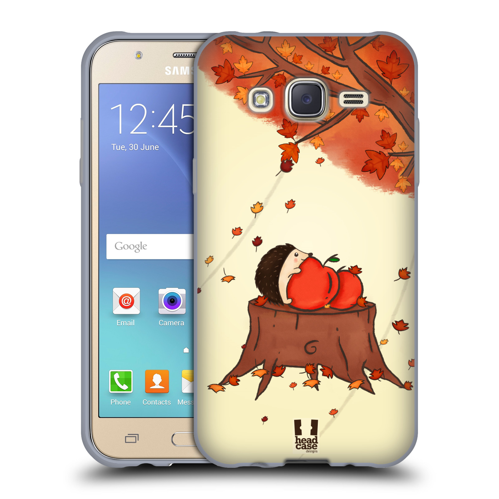 HEAD CASE silikonový obal na mobil Samsung Galaxy J5, J500, (J5 DUOS) vzor podzimní zvířátka ježek a jablíčka