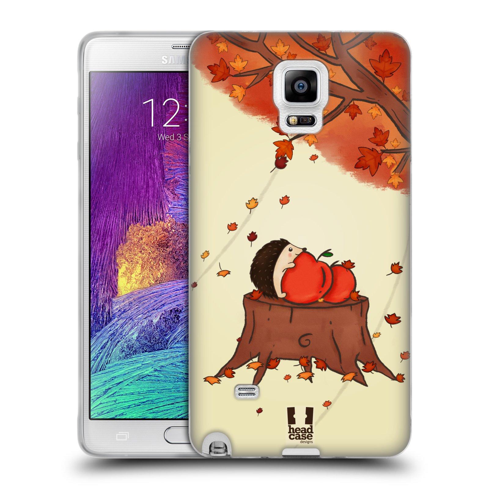 HEAD CASE silikonový obal na mobil Samsung Galaxy Note 4 (N910) vzor podzimní zvířátka ježek a jablíčka