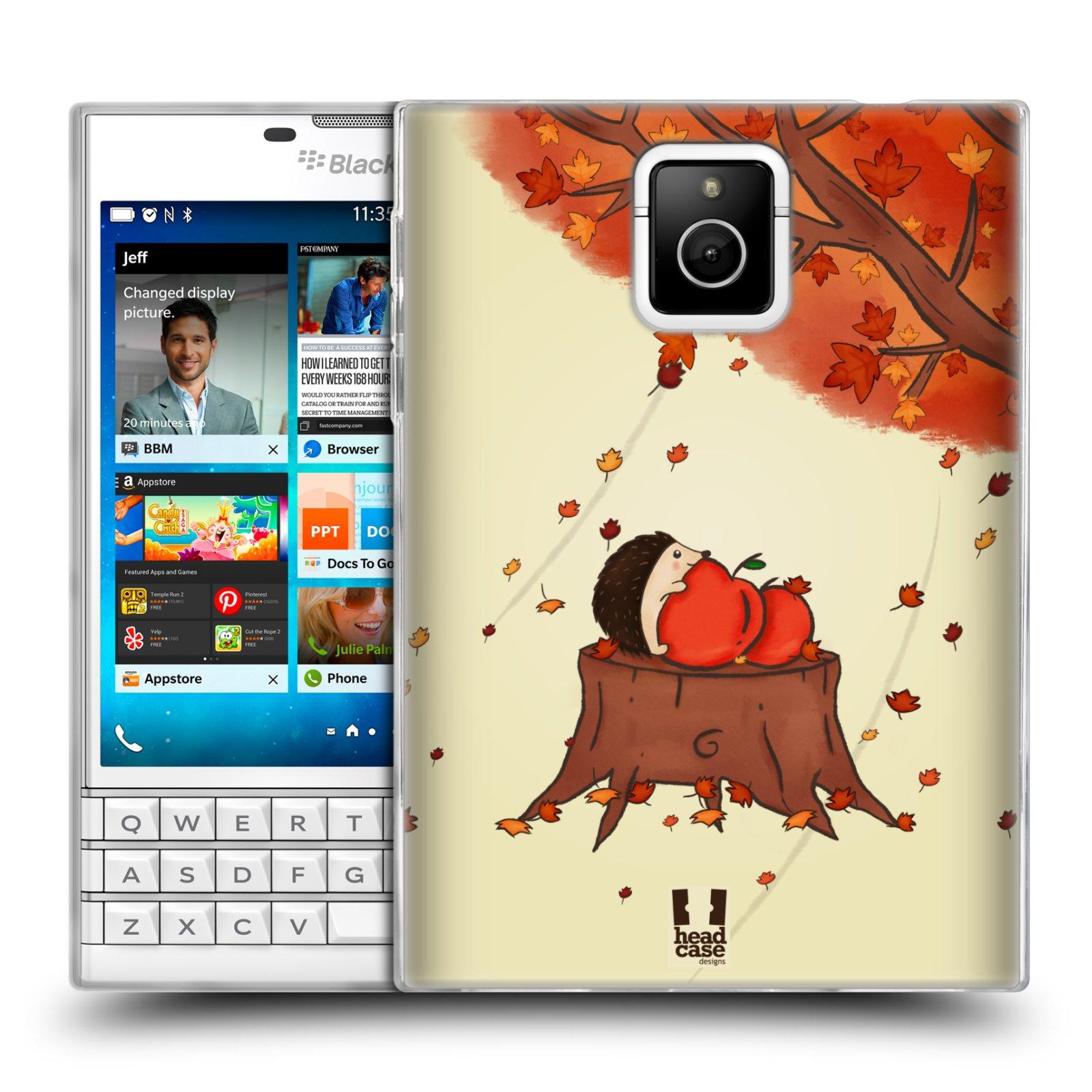 HEAD CASE silikonový obal na mobil Blackberry PASSPORT vzor podzimní zvířátka ježek a jablíčka