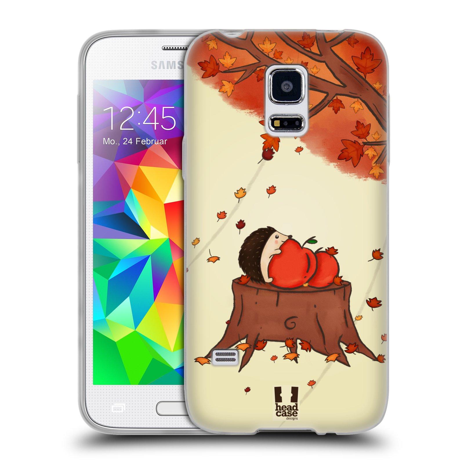 HEAD CASE silikonový obal na mobil Samsung Galaxy S5 MINI vzor podzimní zvířátka ježek a jablíčka
