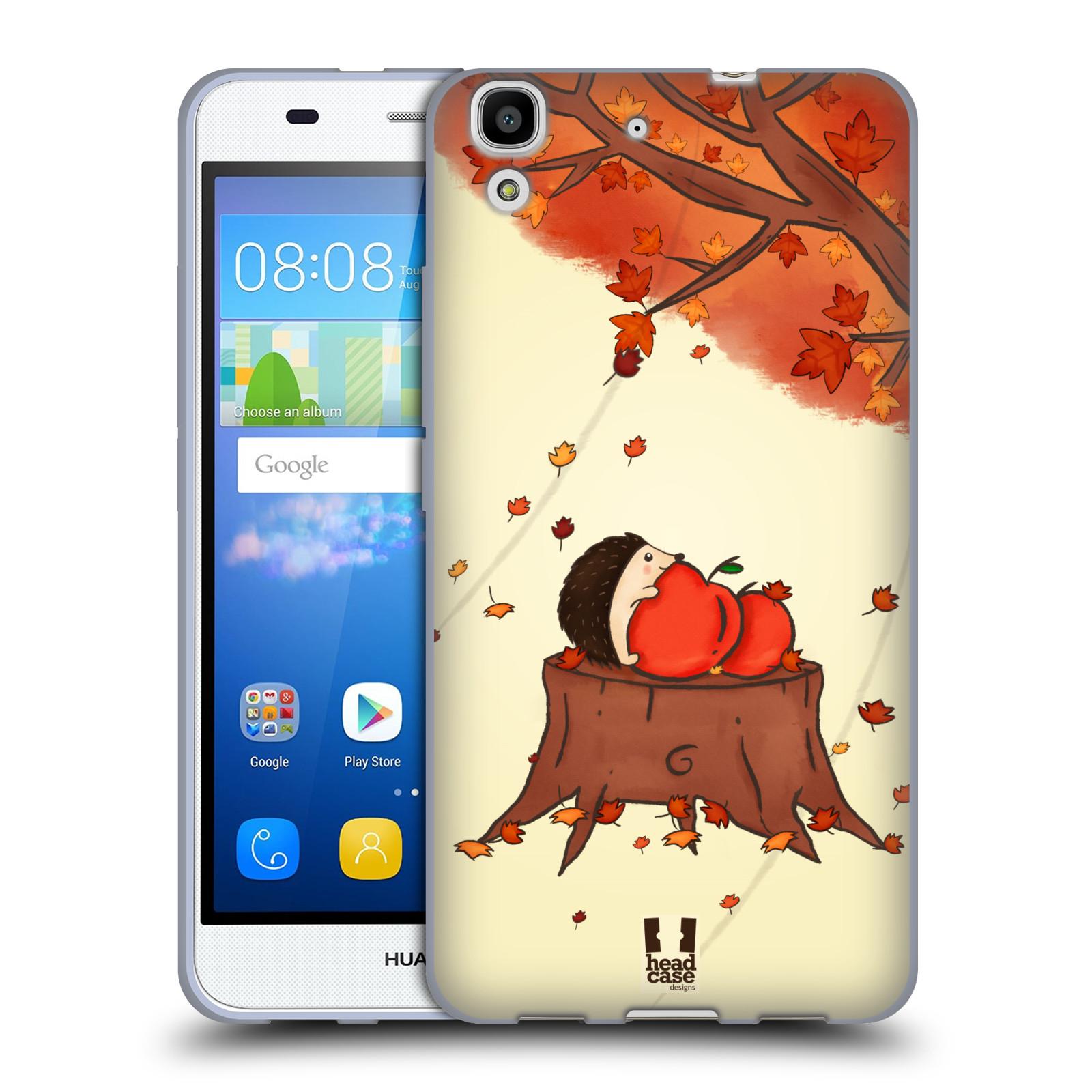 HEAD CASE silikonový obal na mobil HUAWEI Y6 vzor podzimní zvířátka ježek a jablíčka