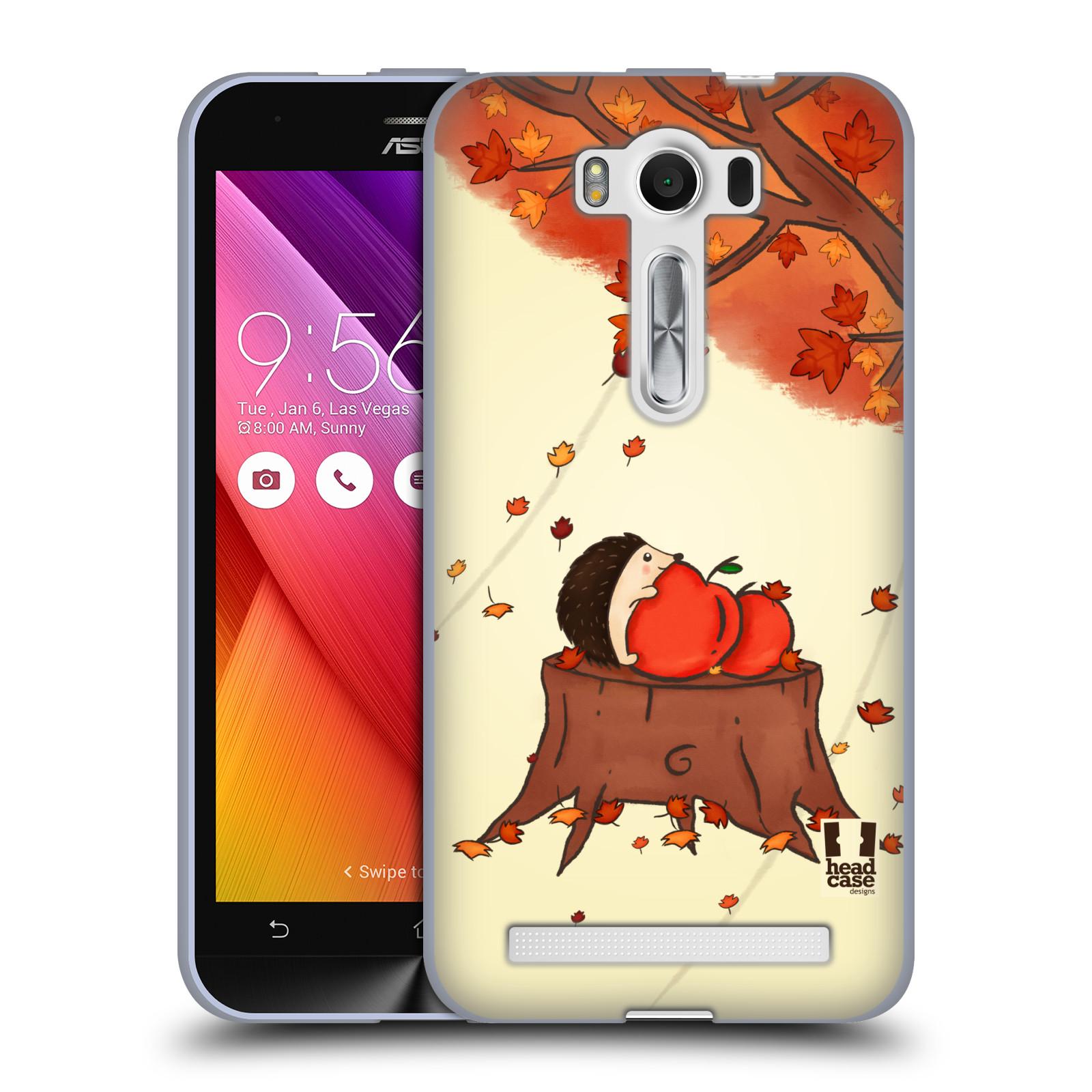 """HEAD CASE silikonový obal na mobil Asus Zenfone 2 LASER (ZE500KL s 5"""" displejem) vzor podzimní zvířátka ježek a jablíčka"""