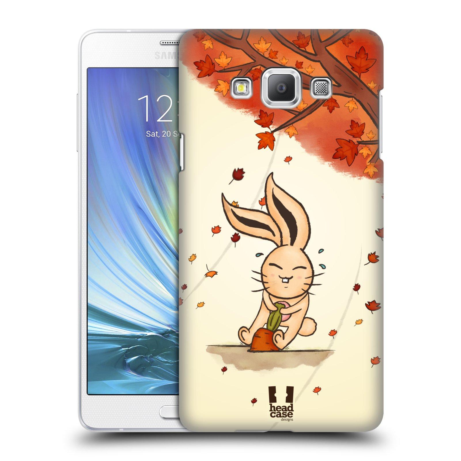 HEAD CASE plastový obal na mobil SAMSUNG GALAXY A7 vzor podzimní zvířátka zajíček a mrkev