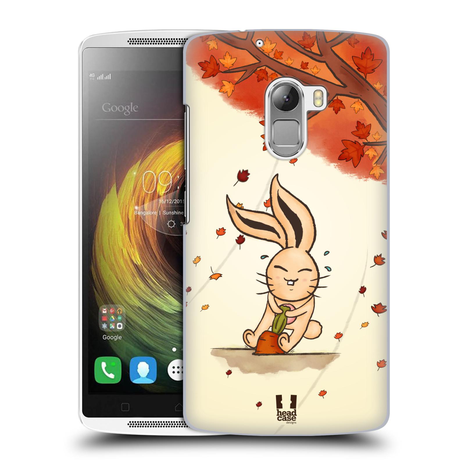 HEAD CASE pevný plastový obal na mobil LENOVO A7010 / A7010 DUAL / K4 Note / Vibe X3 lite vzor podzimní zvířátka zajíček a mrkev