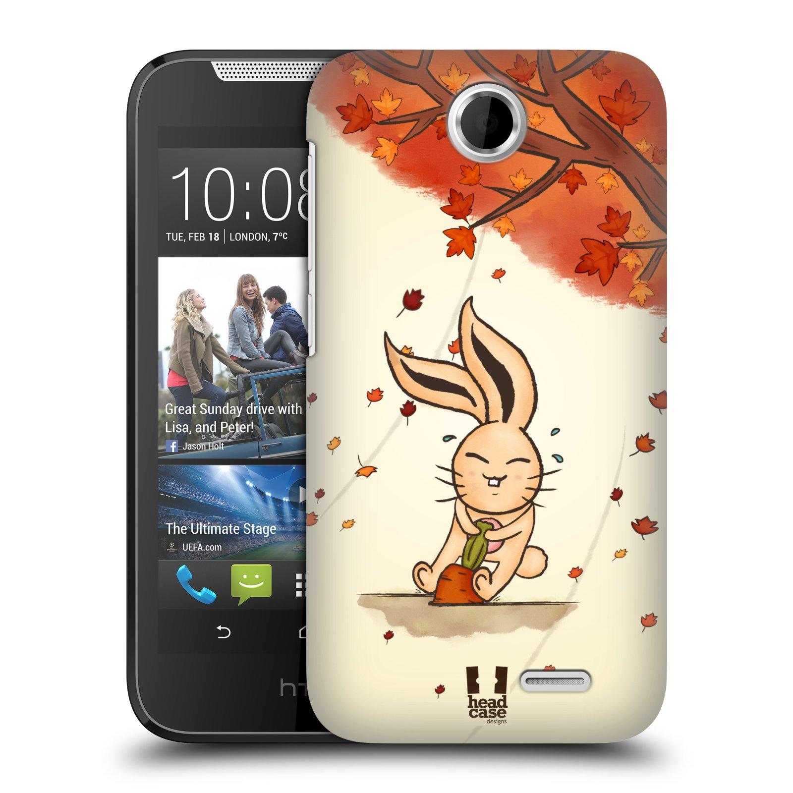 HEAD CASE plastový obal na mobil HTC Desire 310 vzor podzimní zvířátka zajíček a mrkev