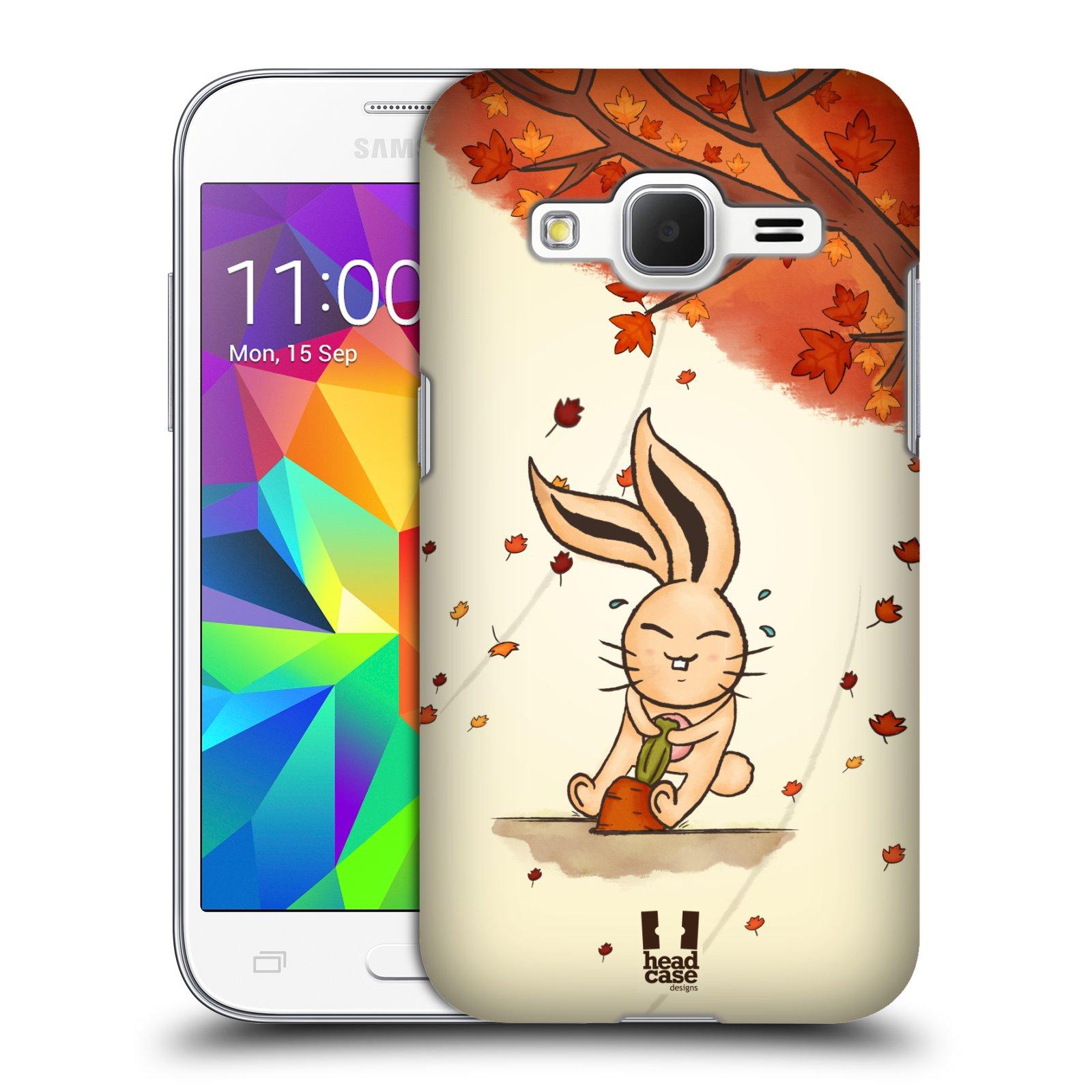 HEAD CASE plastový obal na mobil SAMSUNG GALAXY Core Prime (Core Prime VE) vzor podzimní zvířátka zajíček a mrkev