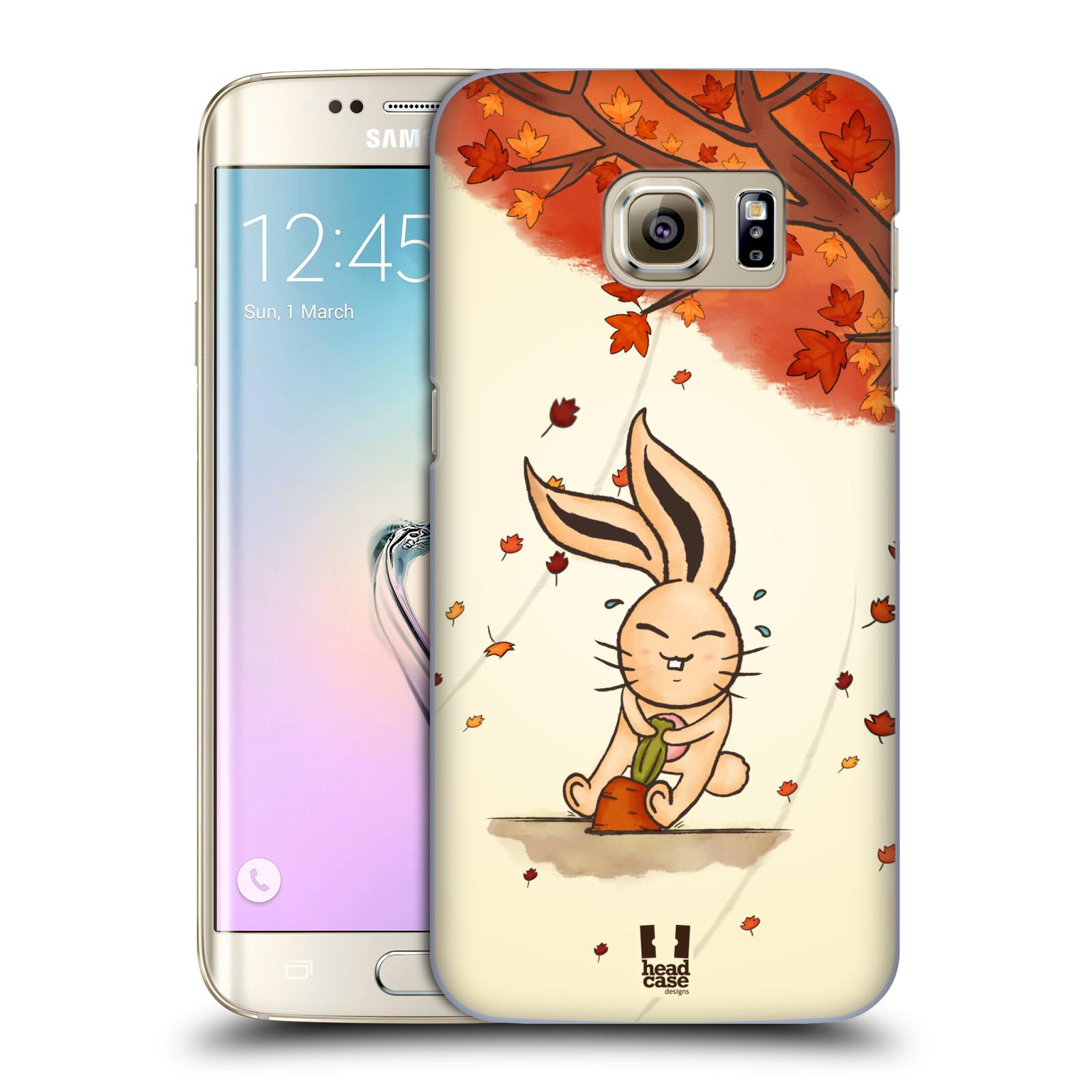 HEAD CASE plastový obal na mobil SAMSUNG GALAXY S7 EDGE vzor podzimní zvířátka zajíček a mrkev