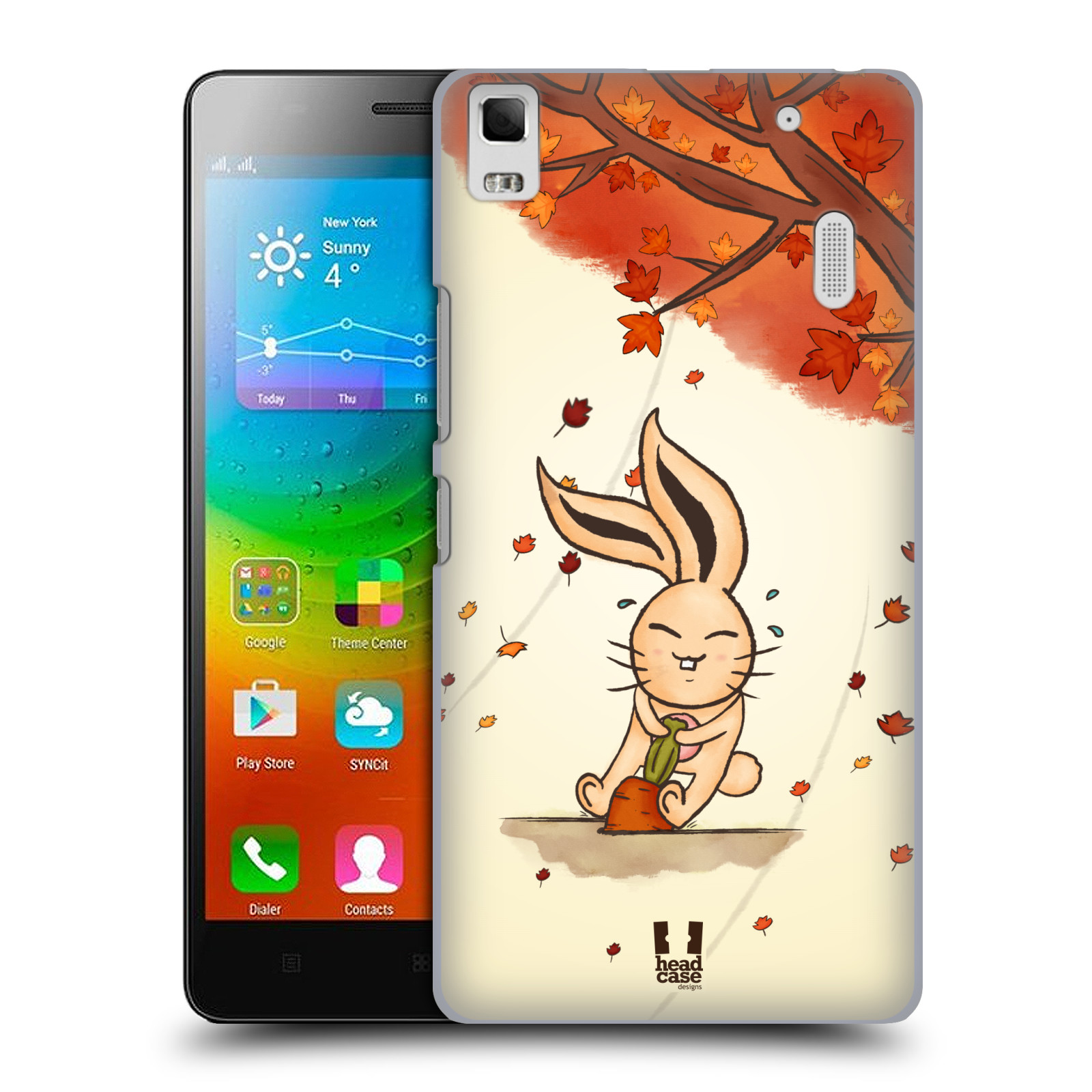 HEAD CASE pevný plastový obal na mobil LENOVO A7000 / A7000 DUAL / K3 NOTE vzor podzimní zvířátka zajíček a mrkev
