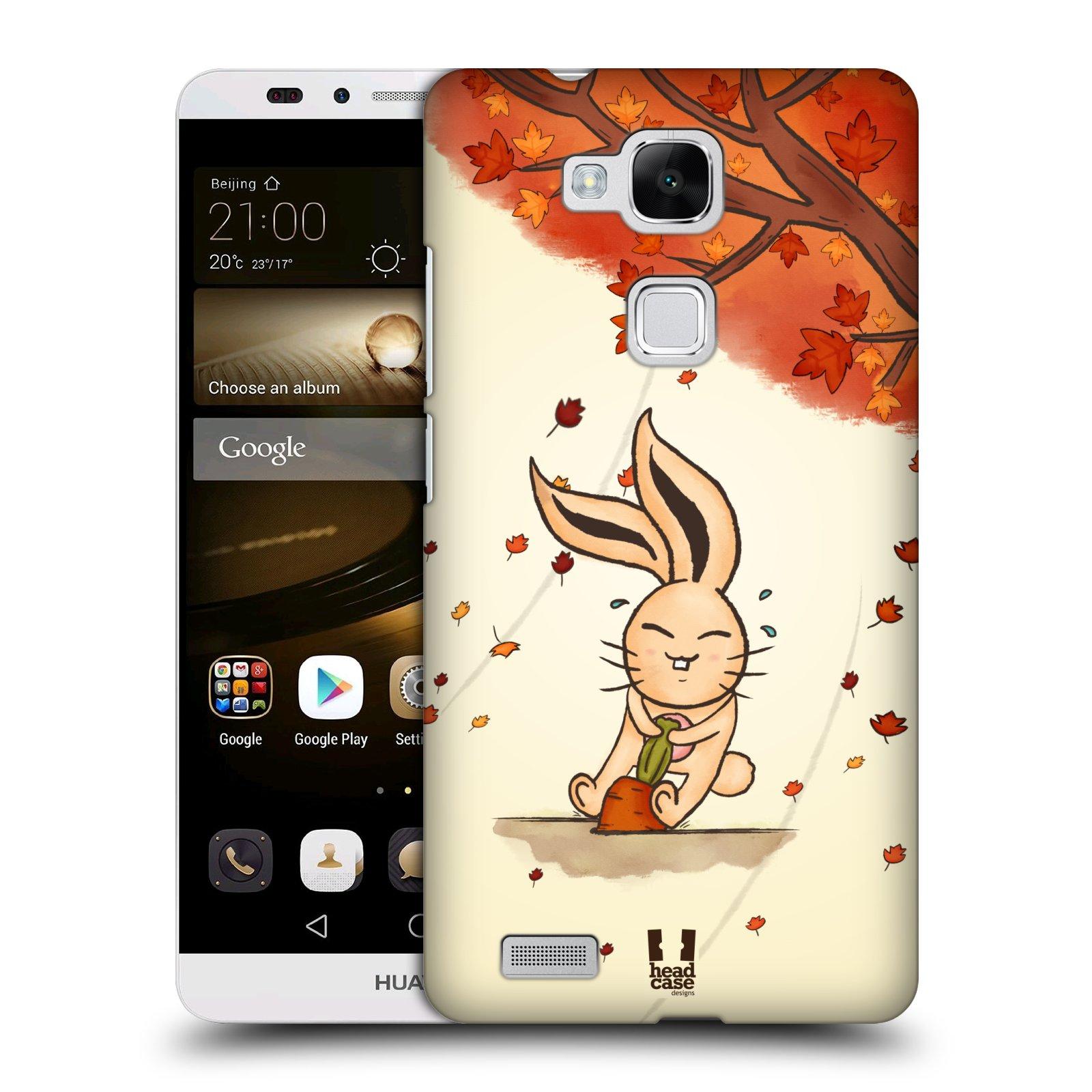 HEAD CASE plastový obal na mobil Huawei Mate 7 vzor podzimní zvířátka zajíček a mrkev