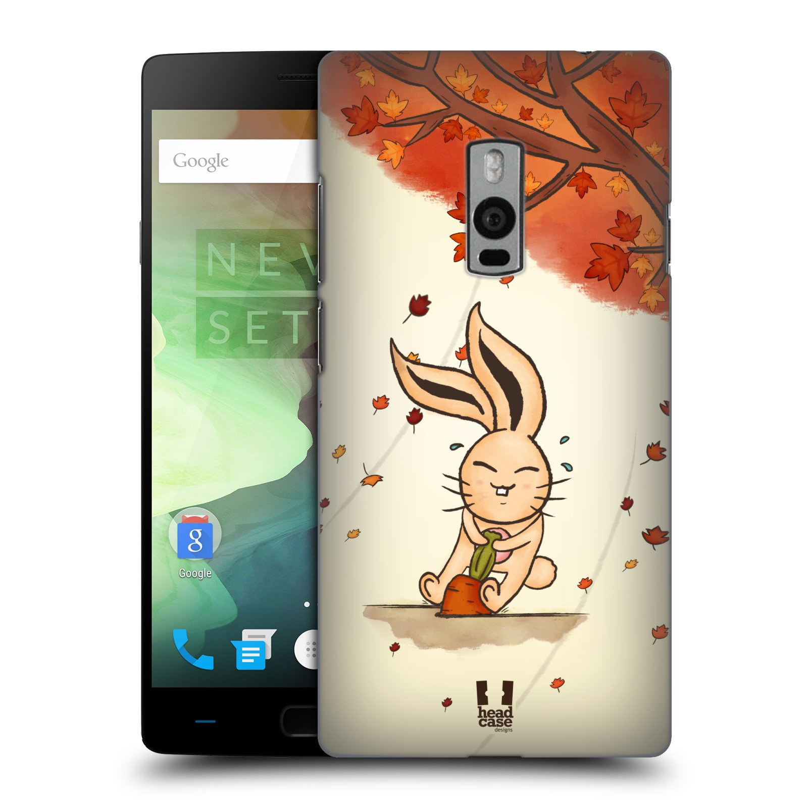 HEAD CASE pevný plastový obal na mobil OnePlus 2  ( TWO ) vzor podzimní zvířátka zajíček a mrkev